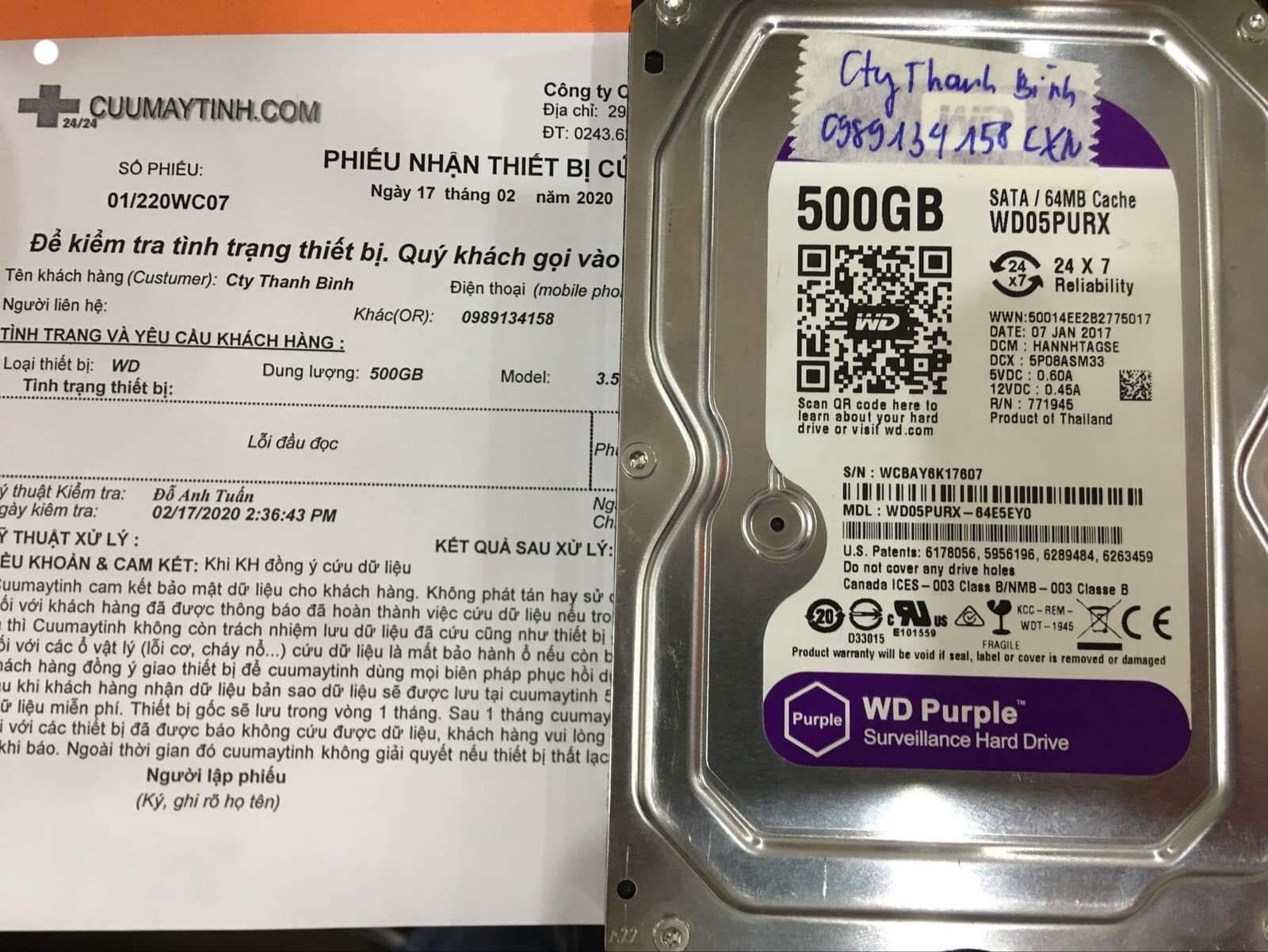 Cứu dữ liệu ổ cứng Western 500GB không nhận 17/02/2020 - cuumaytinh