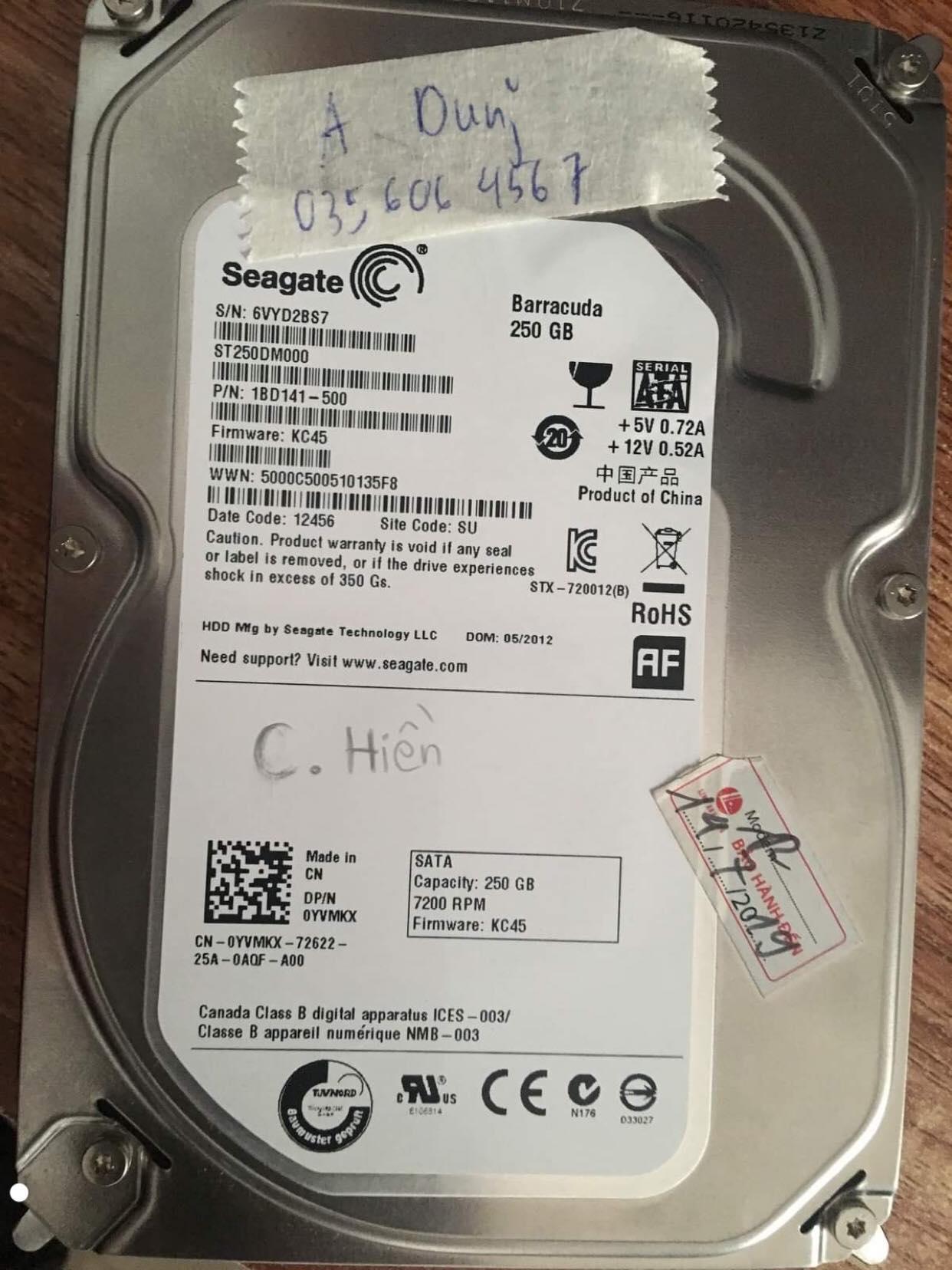 Khôi phục dữ liệu ổ cứng Seagate 250GB mất dữ liệu 04/02/2020 - cuumaytinh