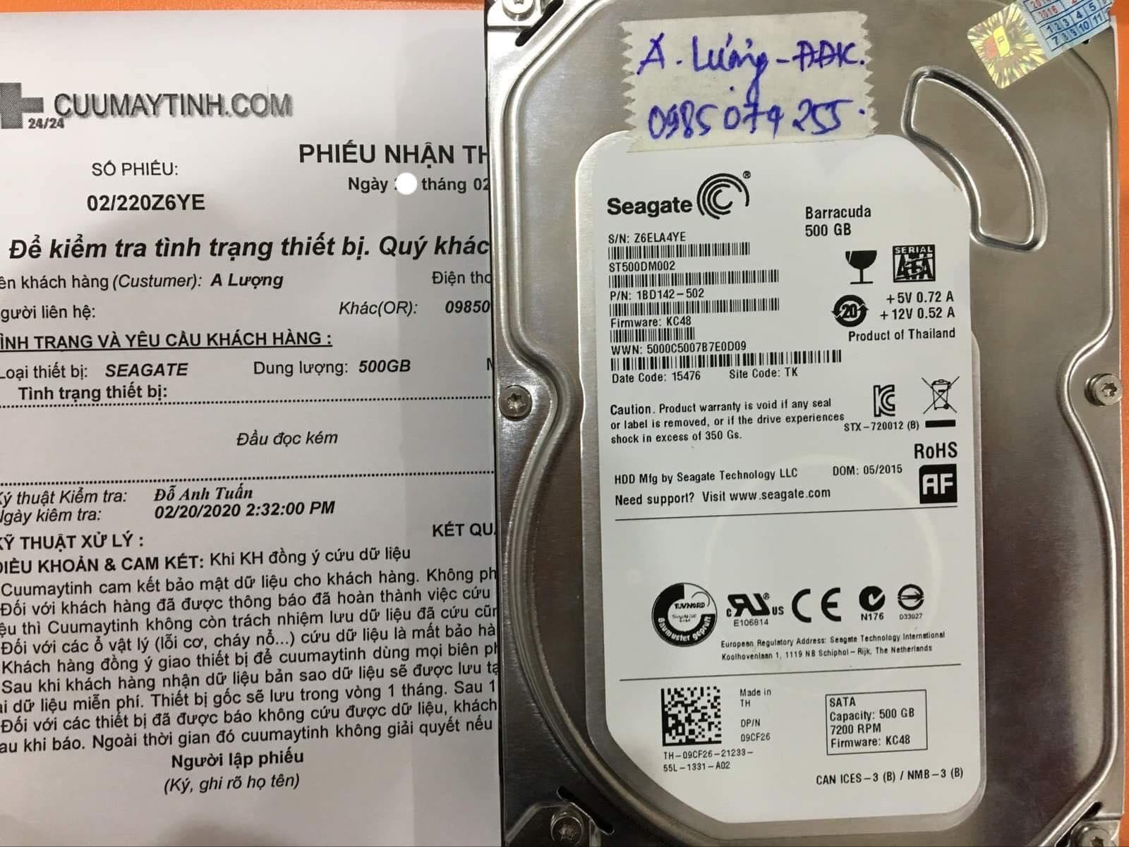 Lấy dữ liệu ổ cứng Seagate 500GB đầu đọc kém 21/02/2020 - cuumaytinh