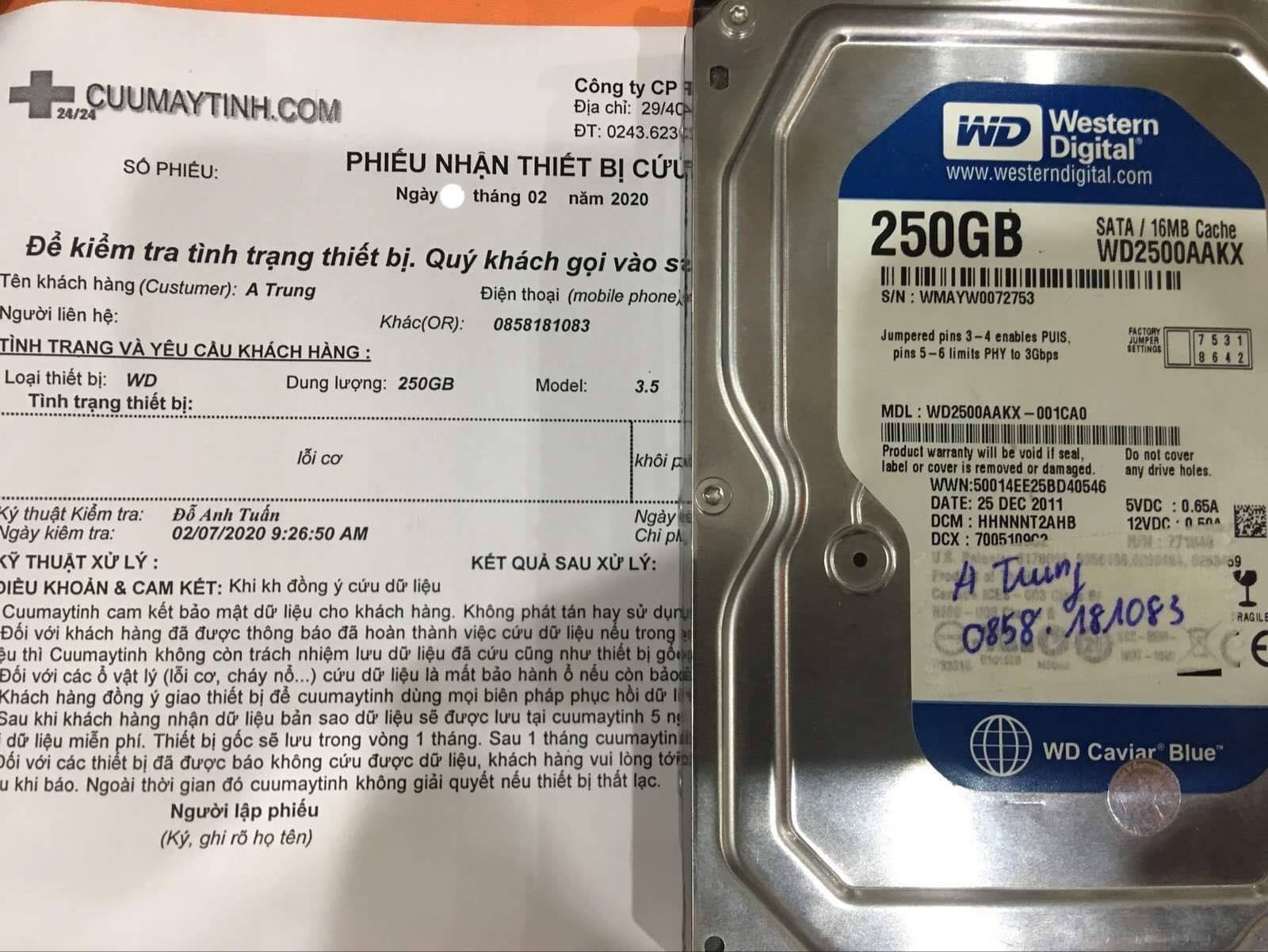 Lấy dữ liệu ổ cứng Western 250GB lỗi cơ 10/02/2020 - cuumaytinh