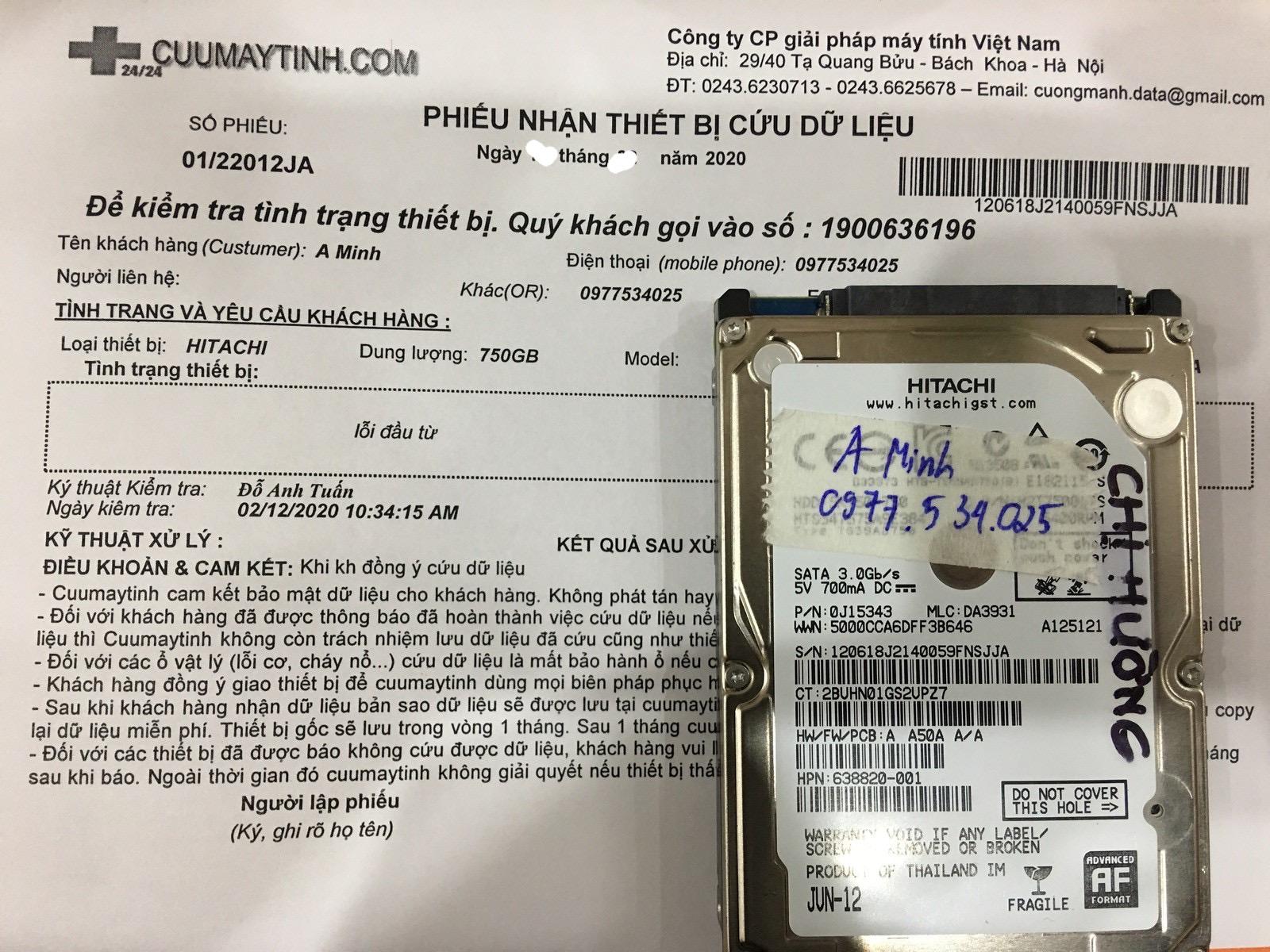 Cứu dữ liệu ổ cứng Hitachi 750GB lỗi đầu đọc 07/03/2020 - cuumaytinh