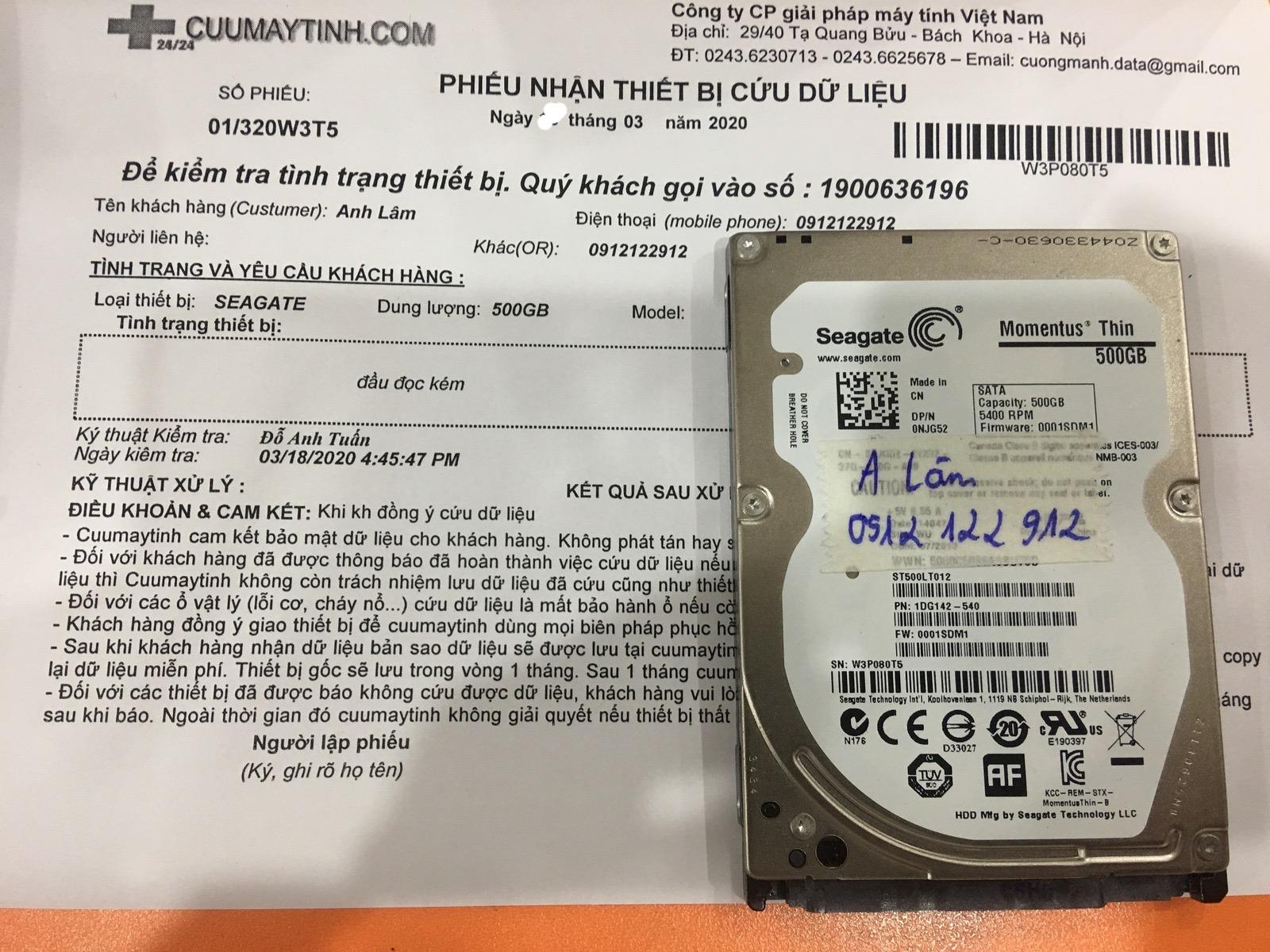 Cứu dữ liệu ổ cứng Seagate 500GB đầu đọc kém 25/03/2020 - cuumaytinh