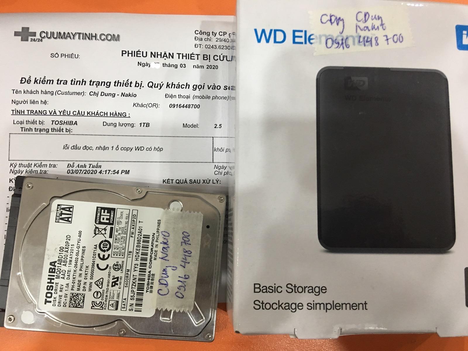 Cứu dữ liệu ổ cứng Toshiba 1TB lỗi đầu đọc 21/03/2020 - cuumaytinh