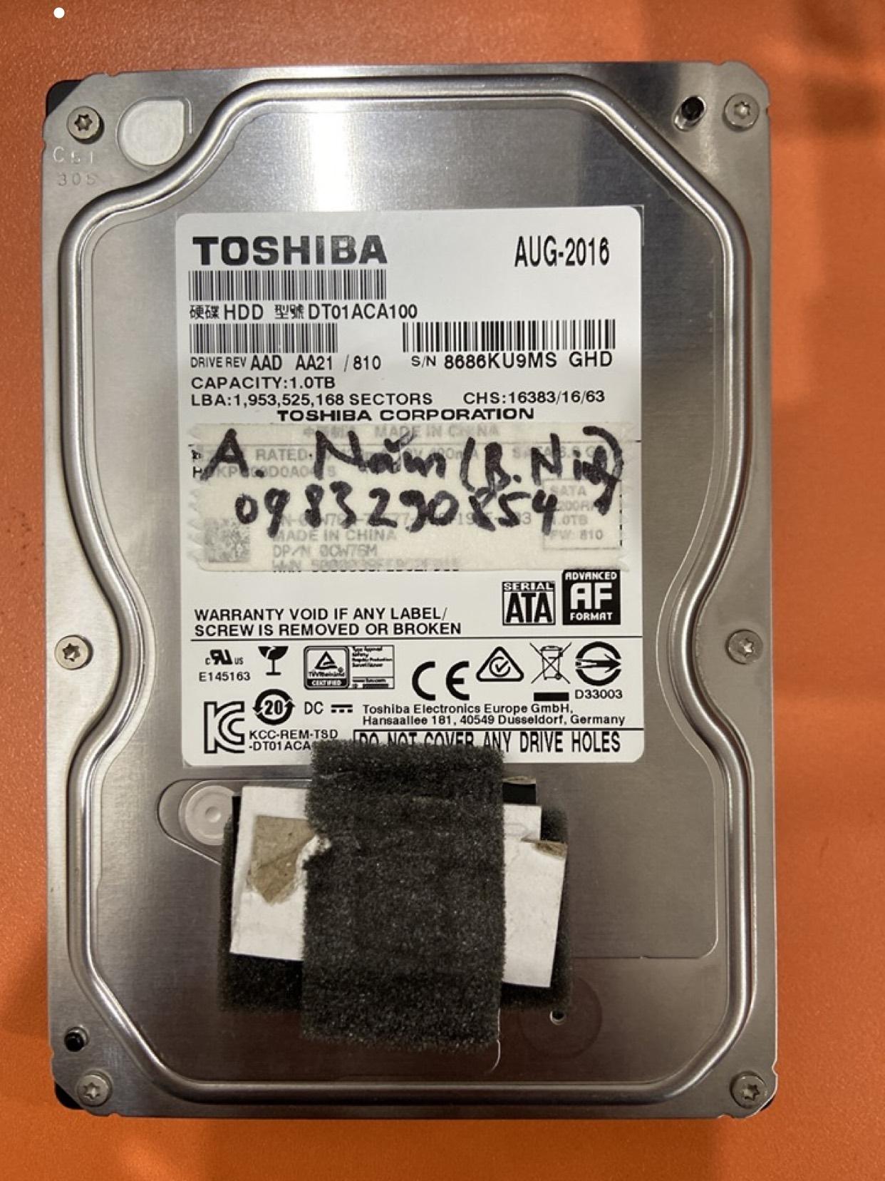 Cứu dữ liệu ổ cứng Toshiba 1TB lỗi đầu đọc tại Bắc Ninh 14/03/2020 - cuumaytinh