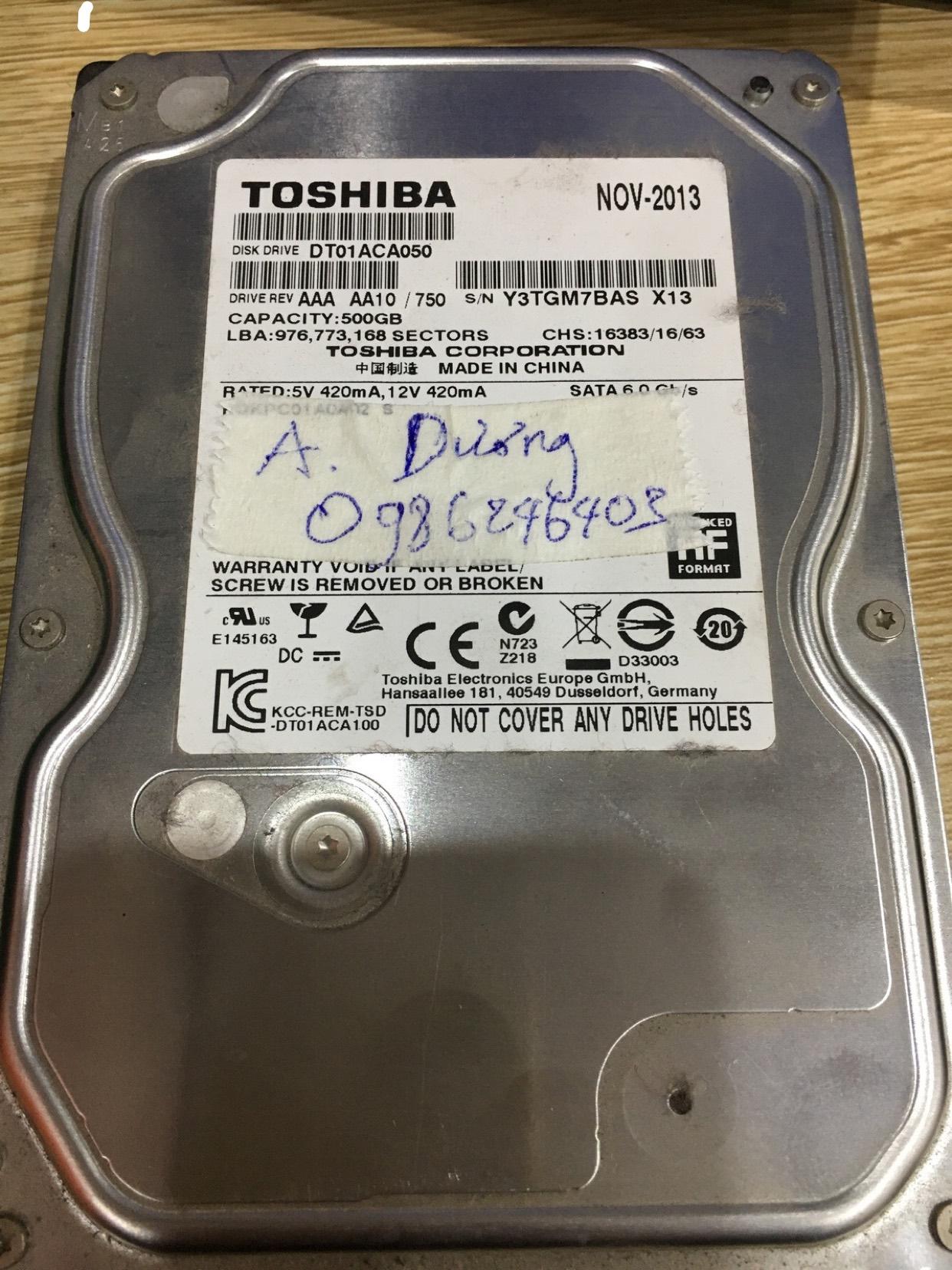 Cứu dữ liệu ổ cứng Toshiba 500GB đầu đọc kém 24/03/2020 - cuumaytinh