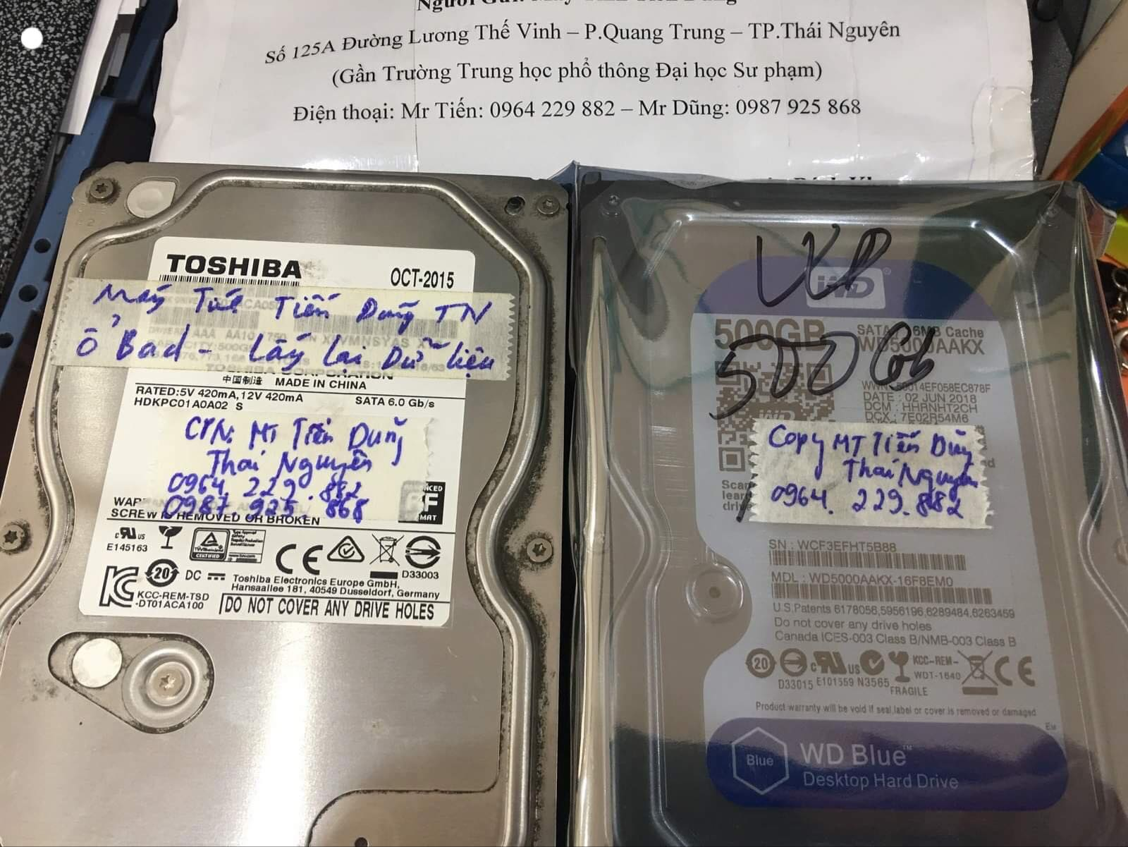 Cứu dữ liệu ổ cứng Toshiba 500GB không nhận tại Thái Nguyên 27/02/2020 - cuumaytinh