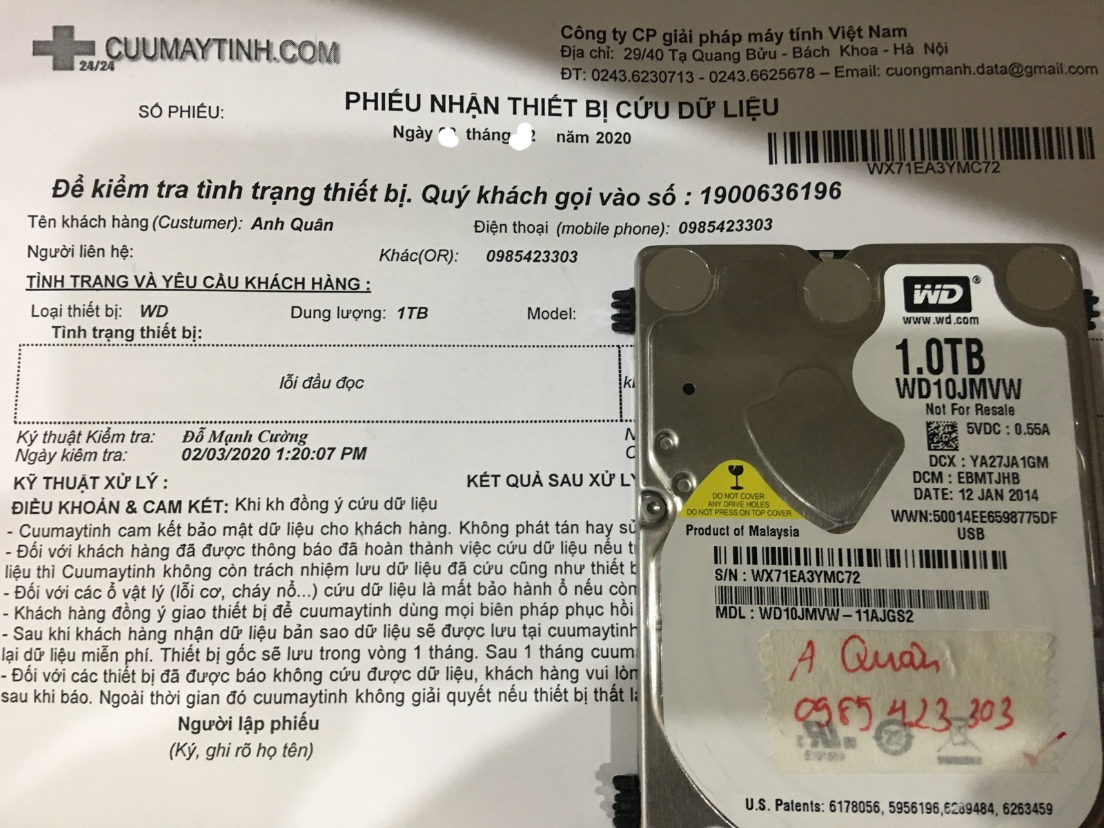 Cứu dữ liệu ổ cứng Western 1TB lỗi đầu đọc 06/03/2020 - cuumaytinh