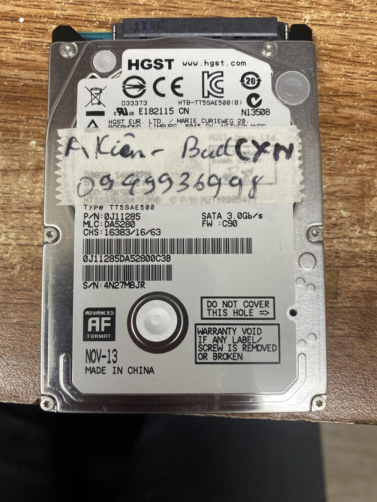 Khôi phục dữ liệu ổ cứng Hitachi 500GB bad 09/03/2020 - cuumaytinh