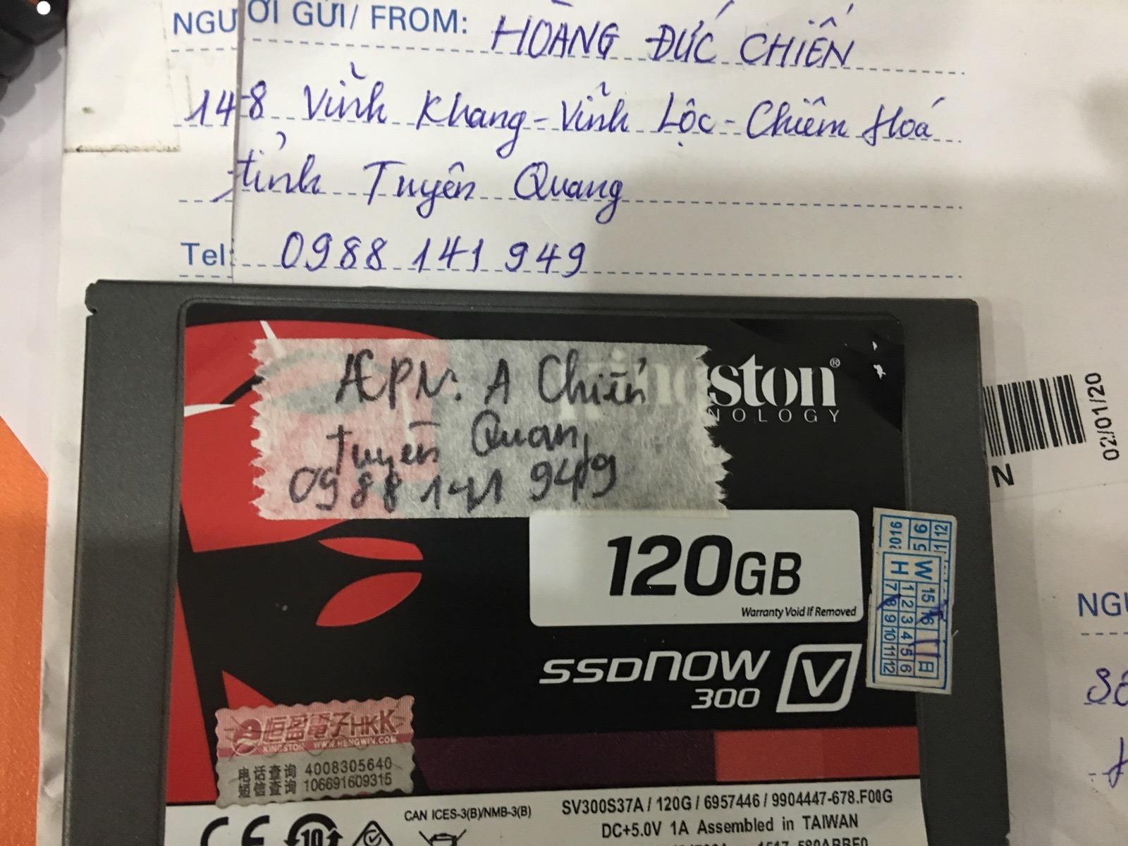 Khôi phục dữ liệu ổ cứng SSD Kingston 120GB không nhận tại Tuyên Quang 23/03/2020 - cuumaytinh