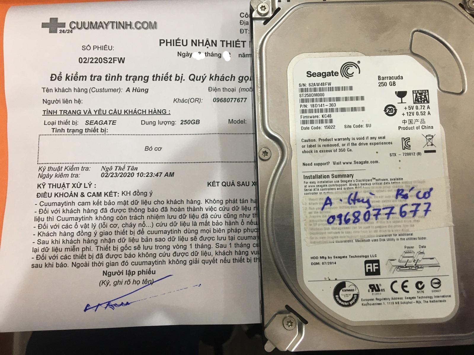 Khôi phục dữ liệu ổ cứng Seagate 250GB bó cơ 06/03/2020 - cuumaytinh