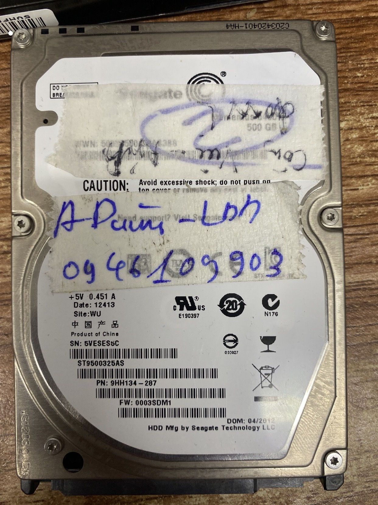 Khôi phục dữ liệu ổ cứng Seagate 500GB lỗi đầu đọc 07/03/2020 - cuumaytinh