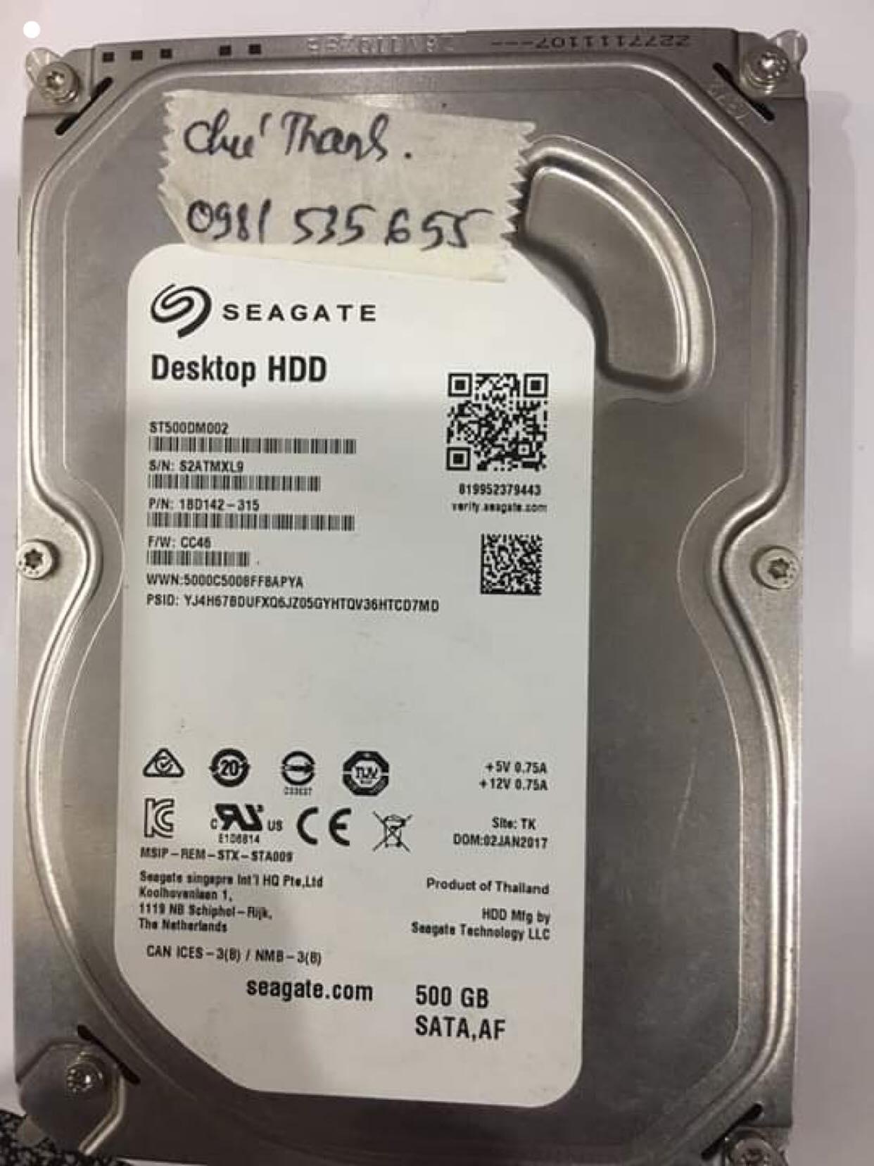 Khôi phục dữ liệu ổ cứng Seagate 500GB mất dữ liệu 27/02/2020 - cuumaytinh