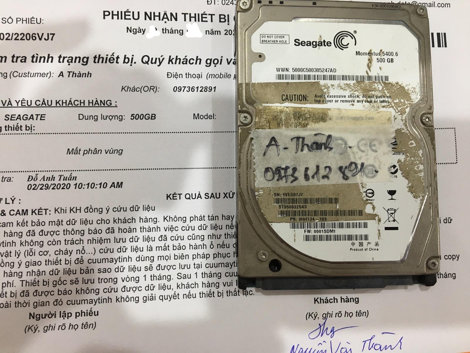 Khôi phục dữ liệu ổ cứng Seagate 500GB mất phân vùng 02/03/2020 - cuumaytinh