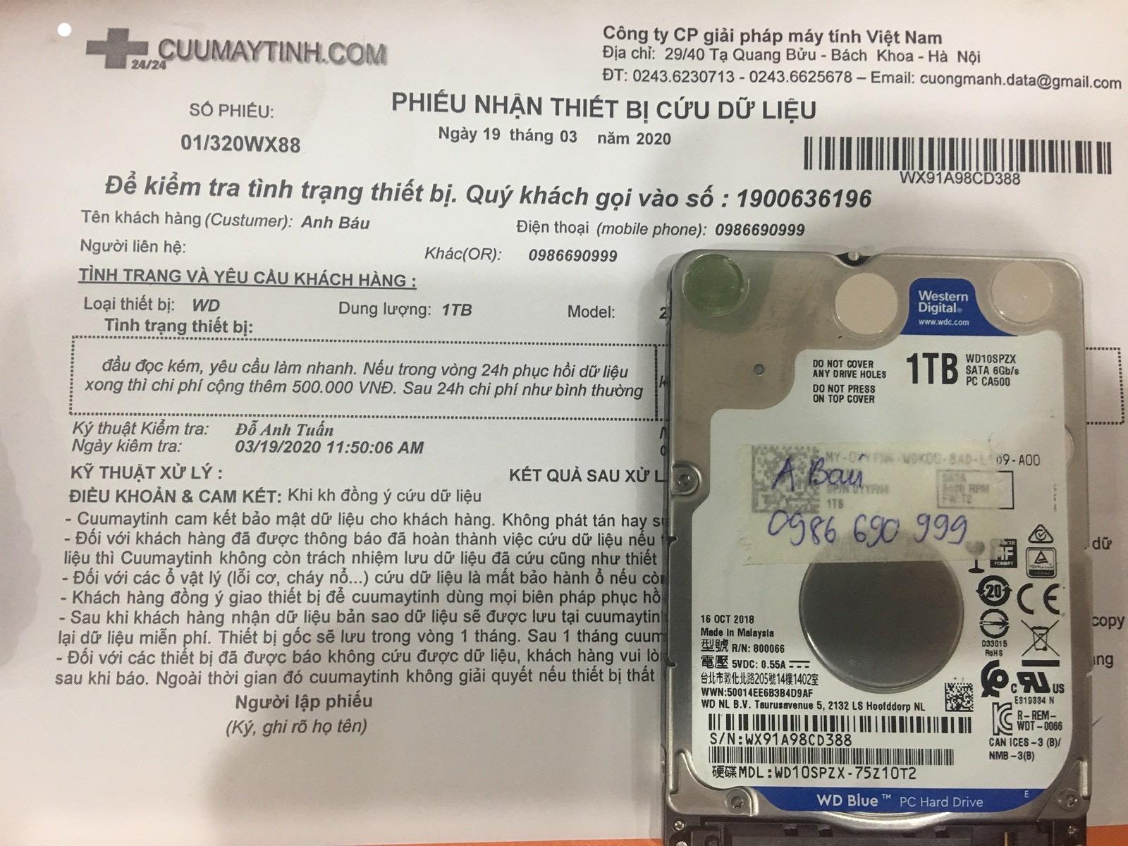 Khôi phục dữ liệu ổ cứng Western 1TB đầu đọc kém 19/03/2020 - cuumaytinh