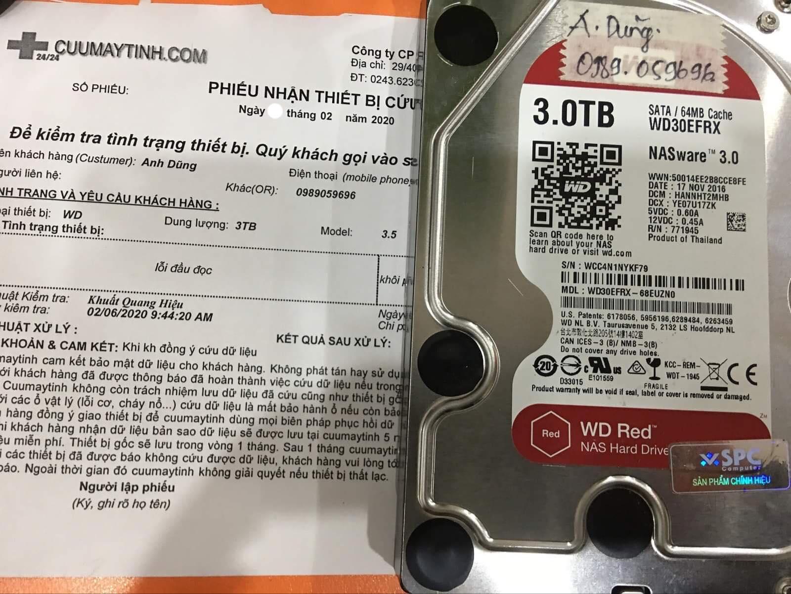 Khôi phục dữ liệu ổ cứng Western 3TB lỗi đầu đọc 28/02/2020 - cuumaytinh