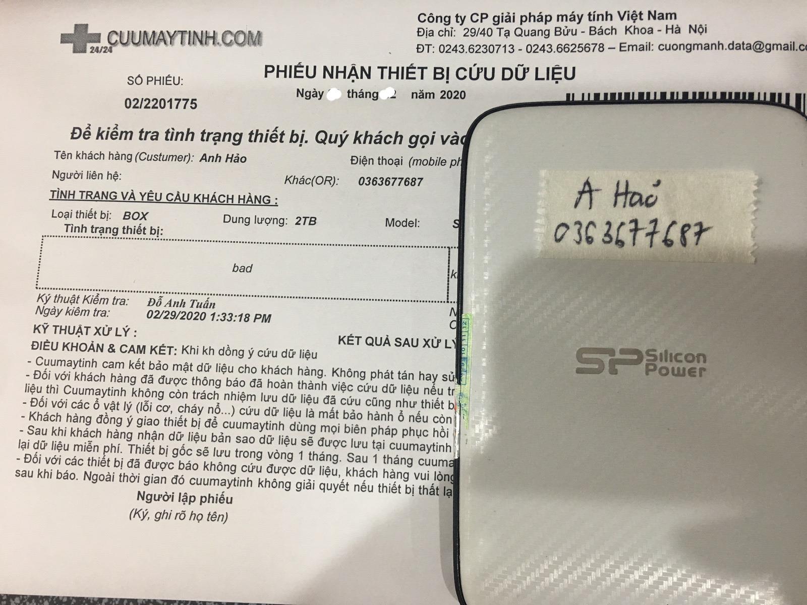 Lấy dữ liệu ổ cứng SP Box 2TB bad 13/03/2020 - cuumaytinh