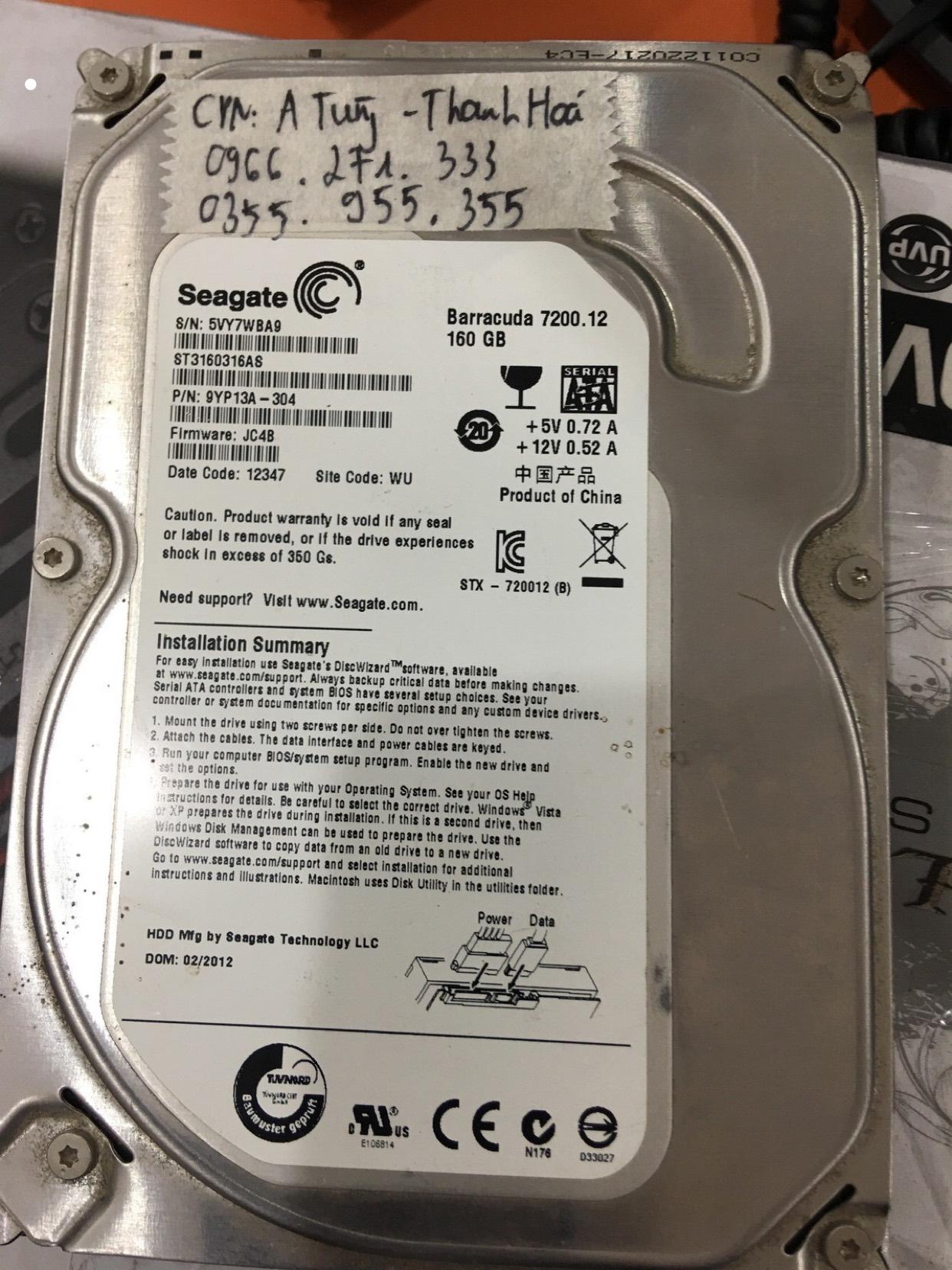Lấy dữ liệu ổ cứng Seagate 160GB mất dữ liệu tại Thanh Hóa 06/03/2020 - cuumaytinh