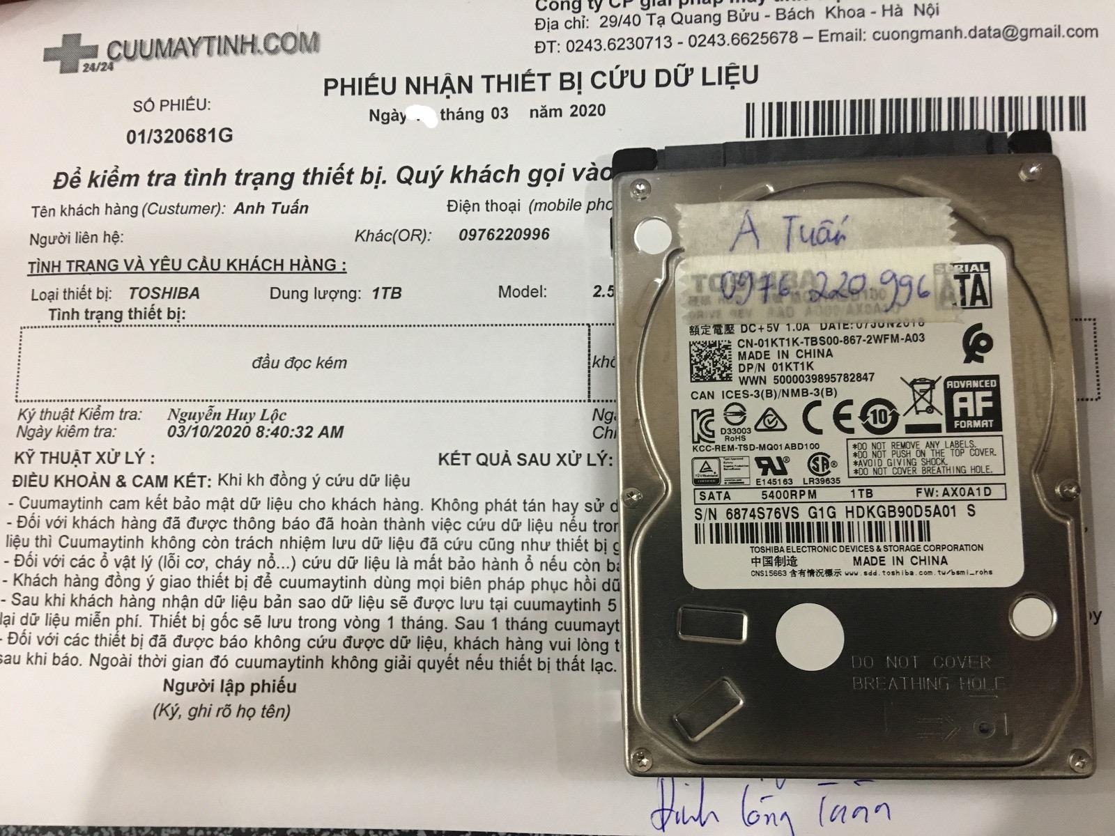 Lấy dữ liệu ổ cứng Toshiba 1TB đầu đọc kém 14/03/2020 - cuumaytinh