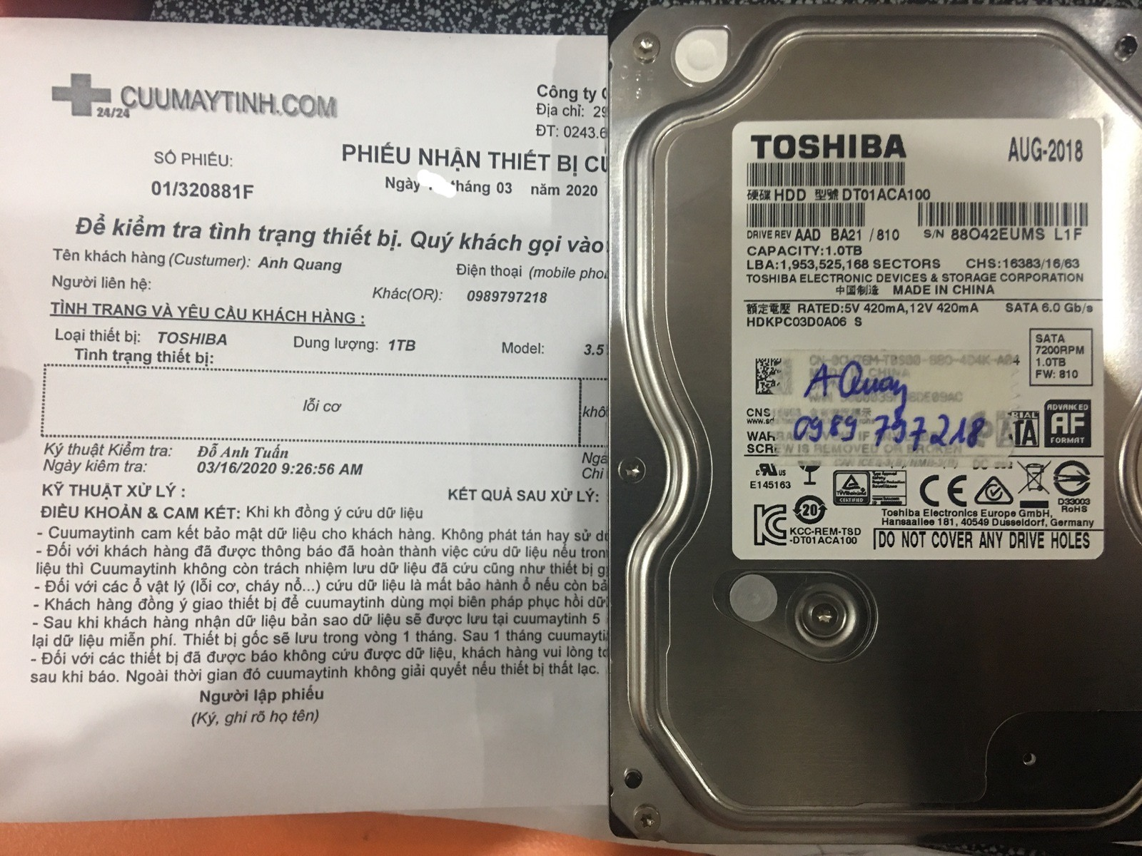 Lấy dữ liệu ổ cứng Toshiba 1TB lỗi cơ 18/03/2020 - cuumaytinh