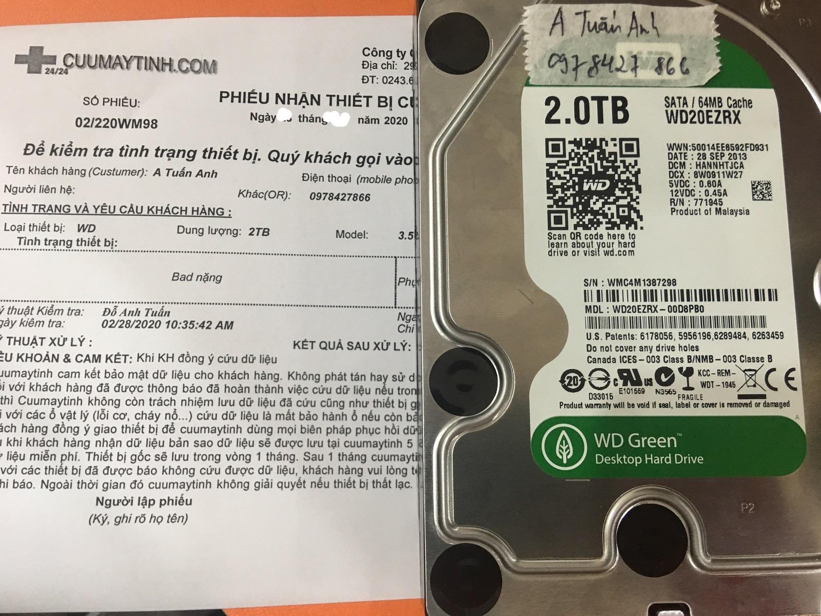 Lấy dữ liệu ổ cứng Western 2TB bad nặng 09/03/2020 - cuumaytinh