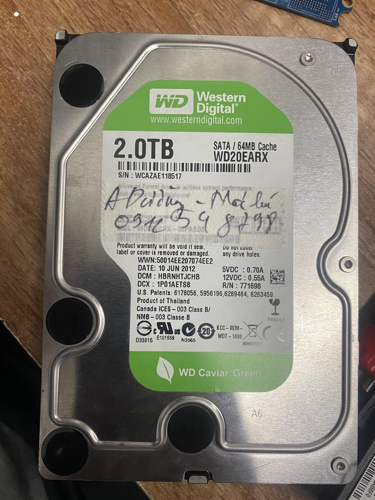 Lấy dữ liệu ổ cứng Western 2TB format nhầm 23/03/2020 - cuumaytinh