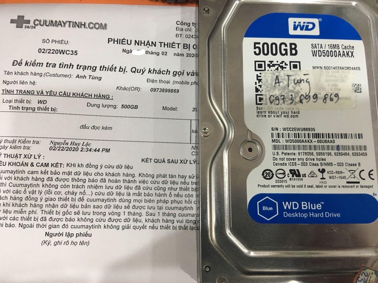 Lấy dữ liệu ổ cứng Western 500GB đầu đọc kém 29/02/2020 - cuumaytinh