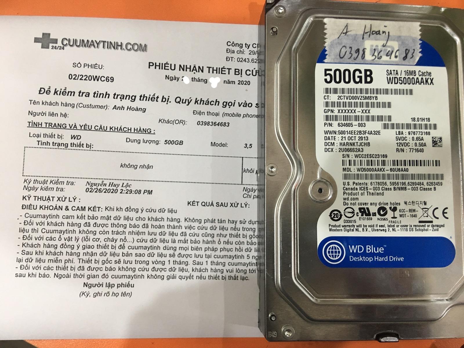 Lấy dữ liệu ổ cứng Western 500GB không nhận 05/03/2020 - cuumaytinh