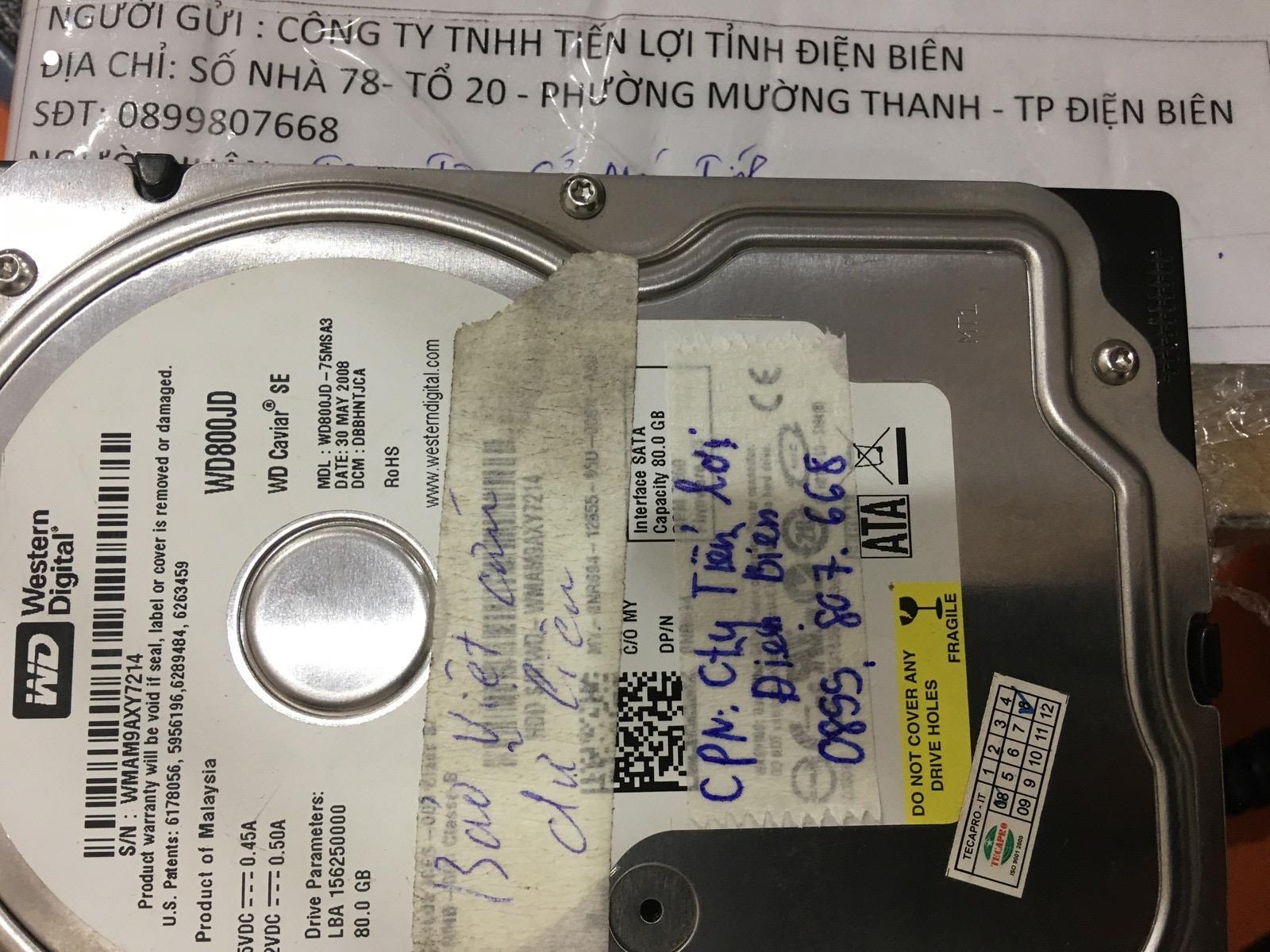 Lấy dữ liệu ổ cứng Western 80GB không nhận tại Điện Biên 24/03/2020 - cuumaytinh