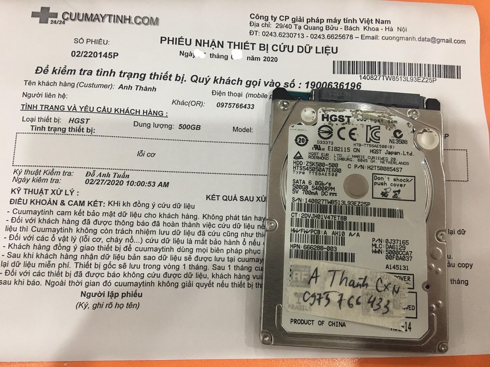 Phục hồi dữ liệu ổ cứng HGST 500GB lỗi cơ 04/03/2020 - cuumaytinh