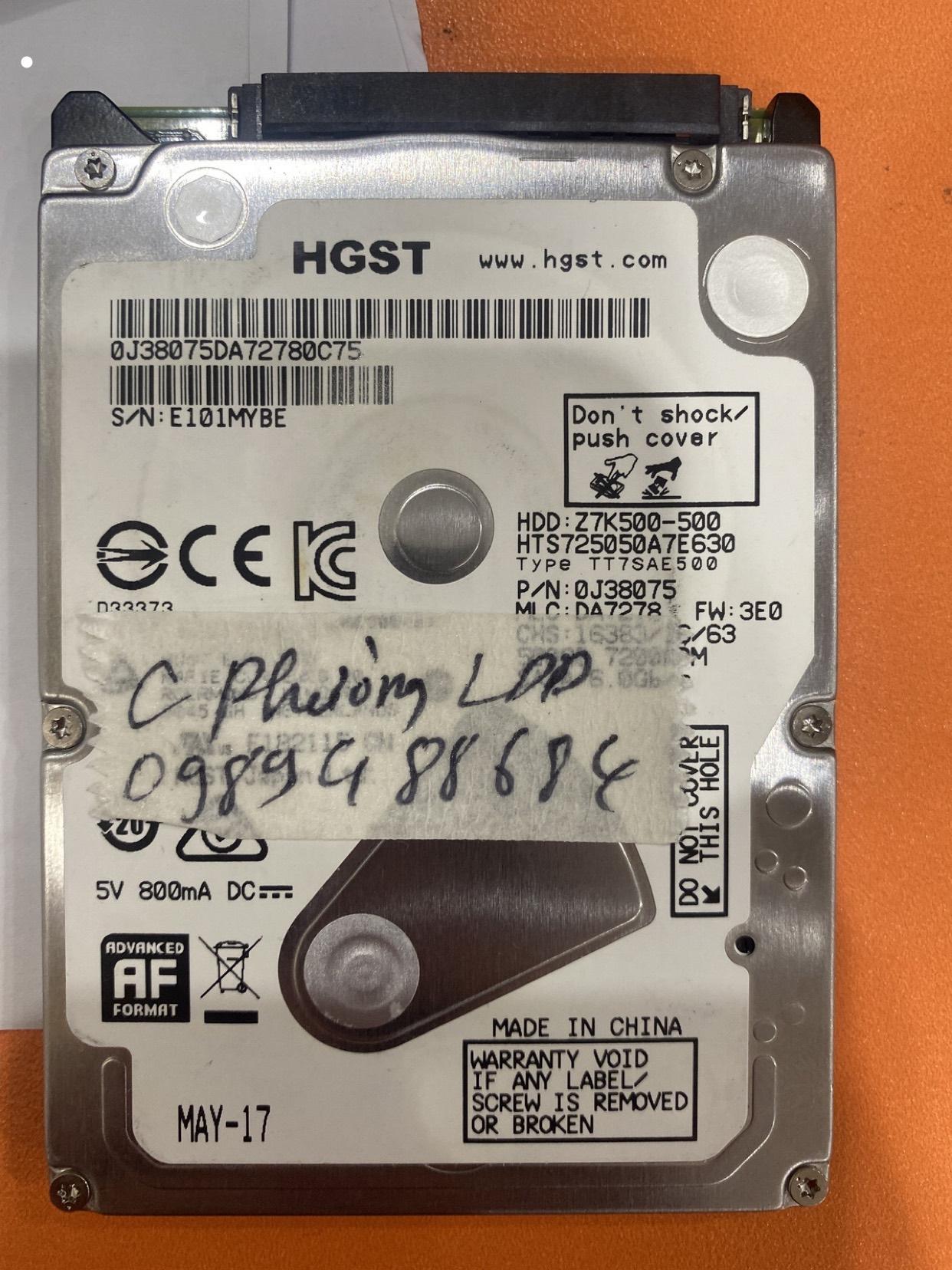 Phục hồi dữ liệu ổ cứng HGST 500GB lỗi đầu đọc 10/03/2020 - cuumaytinh
