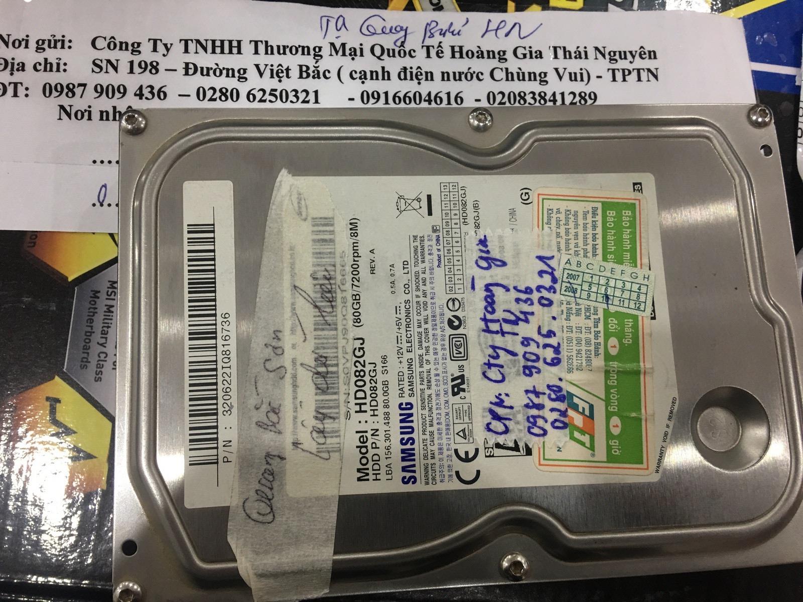 Phục hồi dữ liệu ổ cứng Samsung 80GB không nhận tại Thái Nguyên18/03/2020 - cuumaytinh
