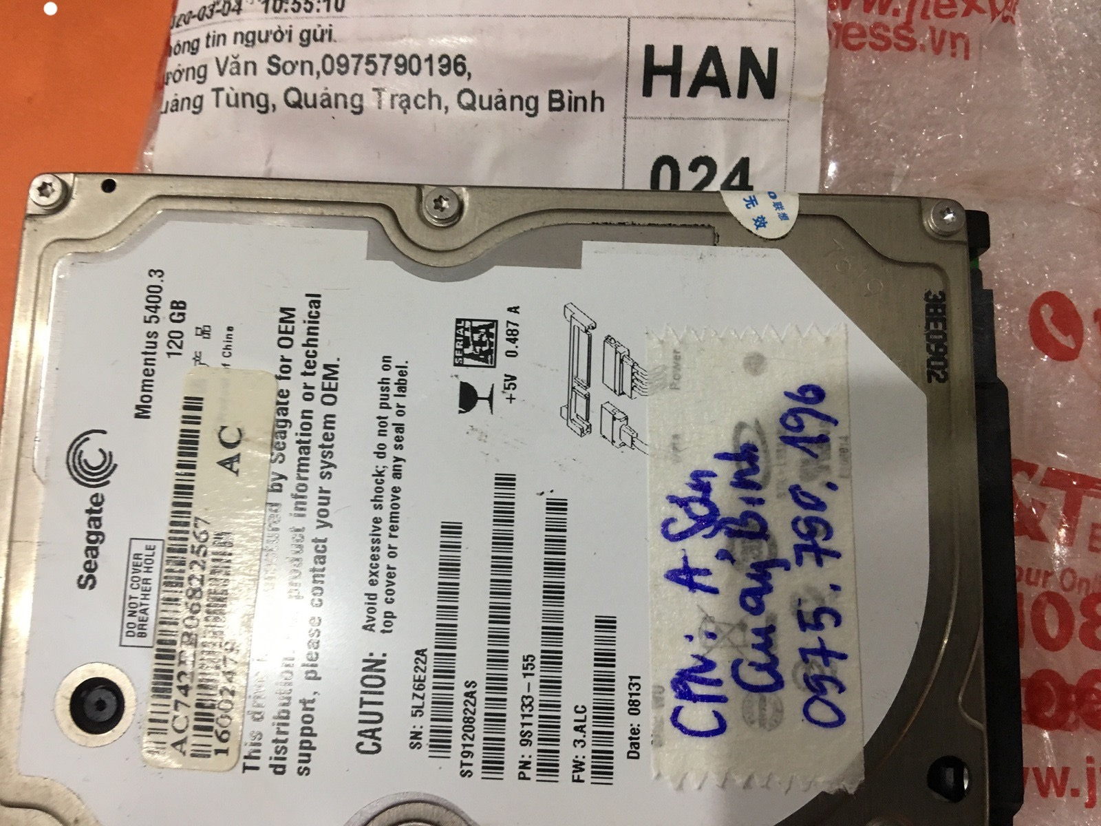 Phục hồi dữ liệu ổ cứng Seagate 120GB bad tại Quảng Bình 23/03/2020 - cuumaytinh