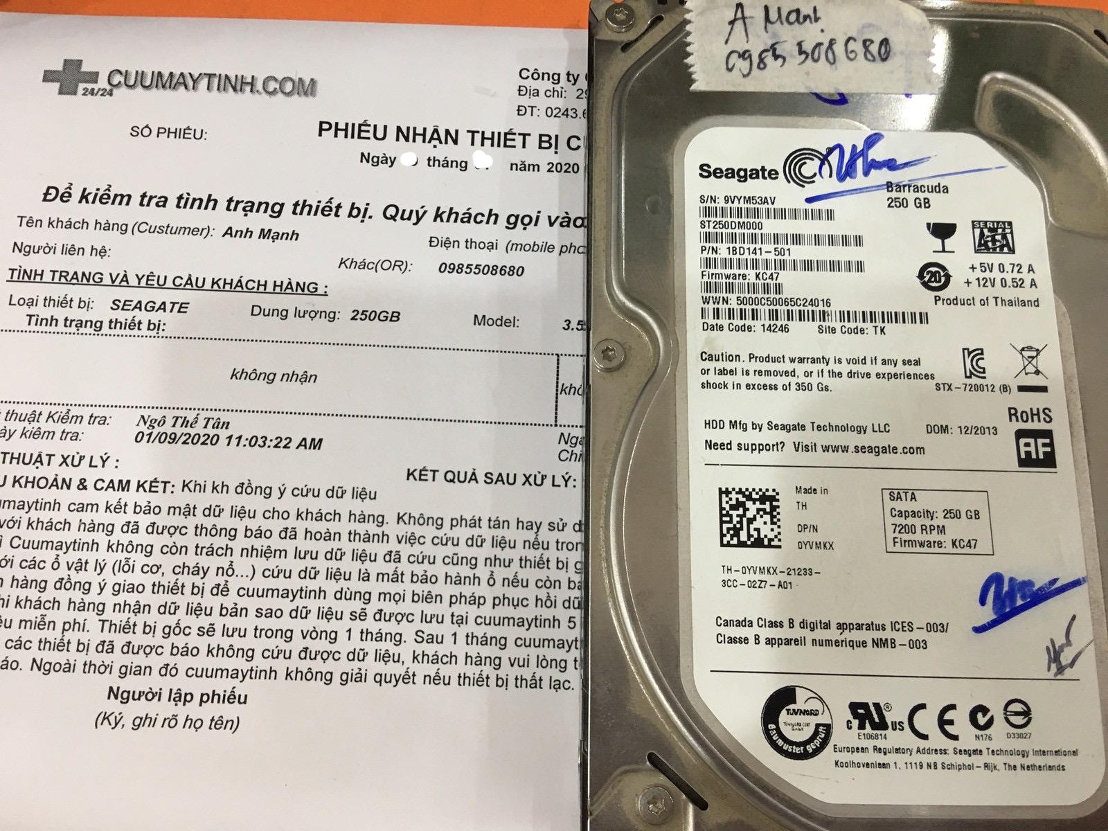 Phục hồi dữ liệu ổ cứng Seagate 250GB không nhận 07/03/2020 - cuumaytinh
