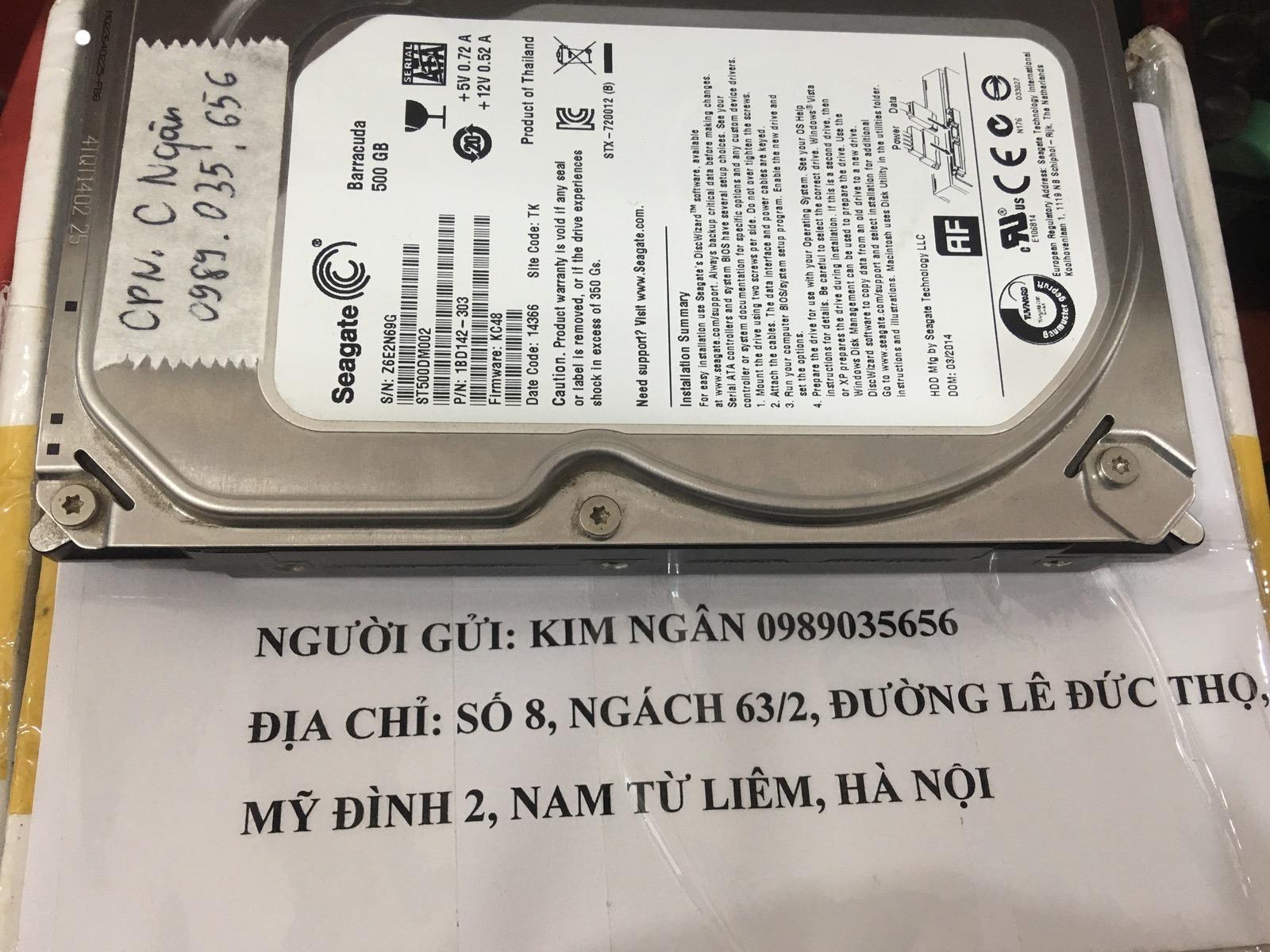 Phục hồi dữ liệu ổ cứng Seagate 500GB không quay 14/03/2020 - cuumaytinh