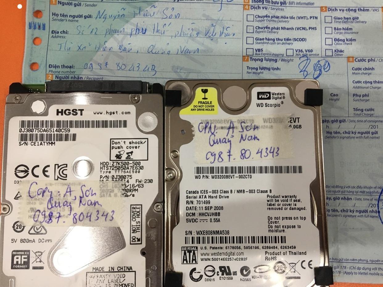 Phục hồi dữ liệu ổ cứng Western 320GB lỗi cơ tại Quảng Nam 13/03/2020 - cuumaytinh