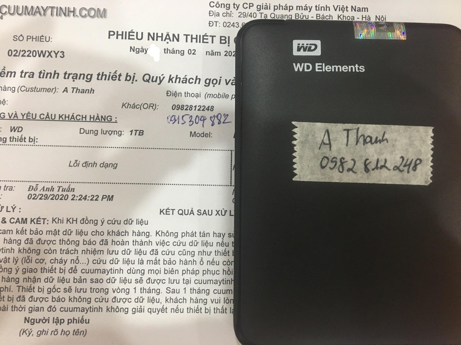 Phục hồi dữ liệu ổ cứng Western 1TB mất định dạng 29/02/2020 - cuumaytinh