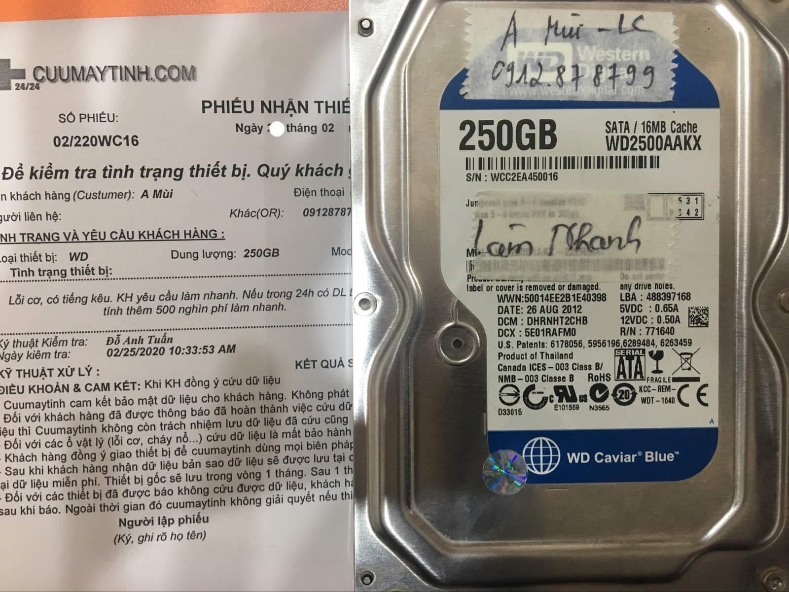 Phục hồi dữ liệu ổ cứng Western 250GB lỗi cơ 27/02/2020 - cuumaytinh