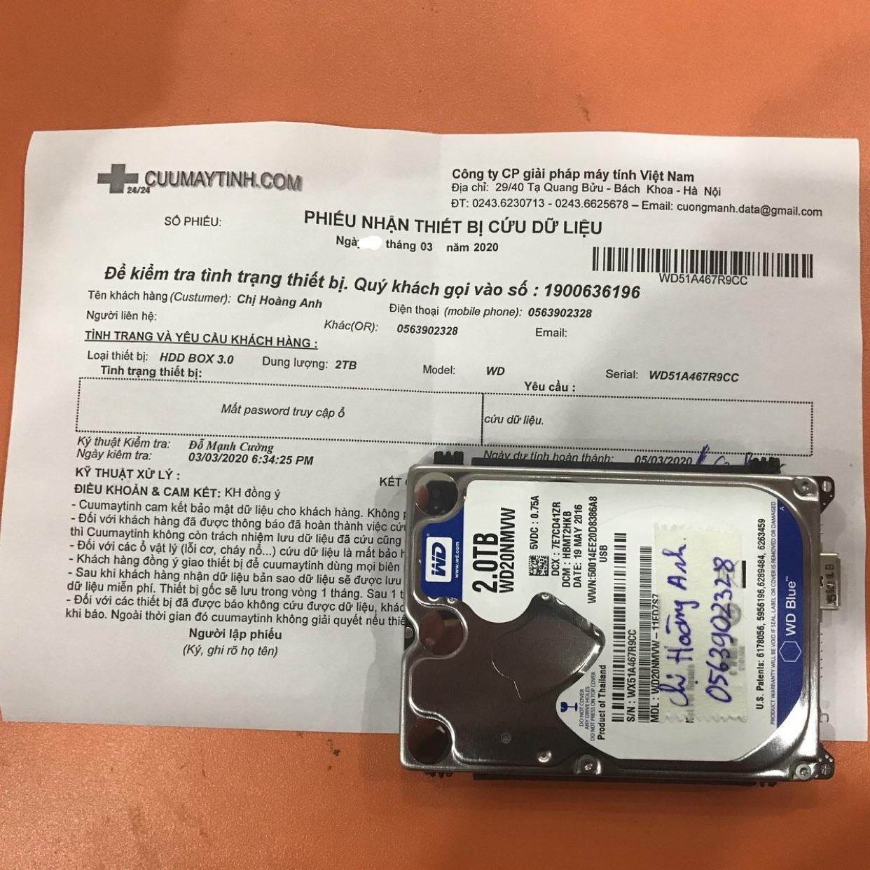 Phục hồi dữ liệu ổ cứng Western 2TB mất password 03/03/2020 - cuumaytinh
