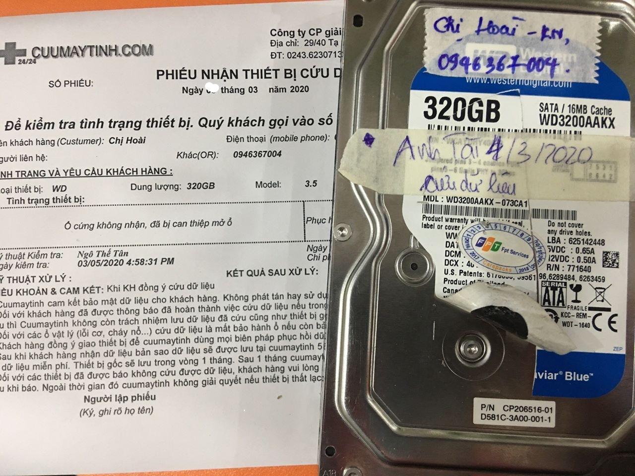 Phục hồi dữ liệu ổ cứng Western 320GB không nhận 12/03/2020 - cuumaytinh