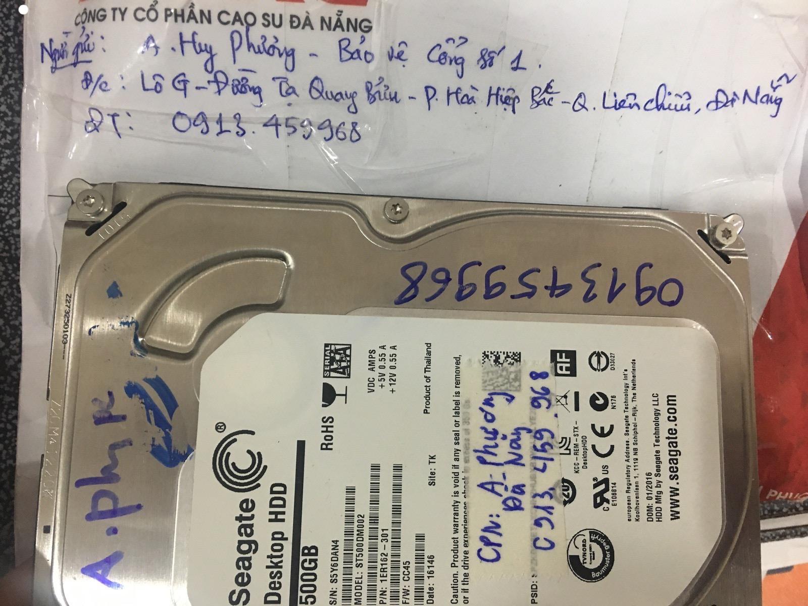 Khôi phục dữ liệu ổ cứng Seagate 500GB không nhận tại Đà Nẵng 20/03/2020 - cuumaytinh