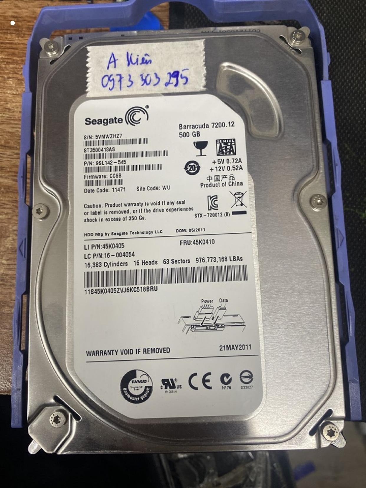 Cứu dữ liệu ổ cứng Seagate 500GB mất dữ liệu 29/02/2020 - cuumaytinh