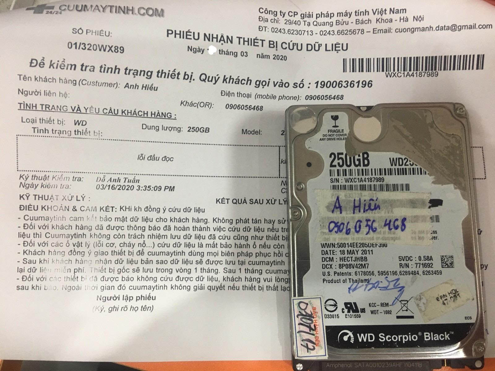 Cứu dữ liệu ổ cứng Western 250GB lỗi đầu đọc 19/03/2020 - cuumaytinh