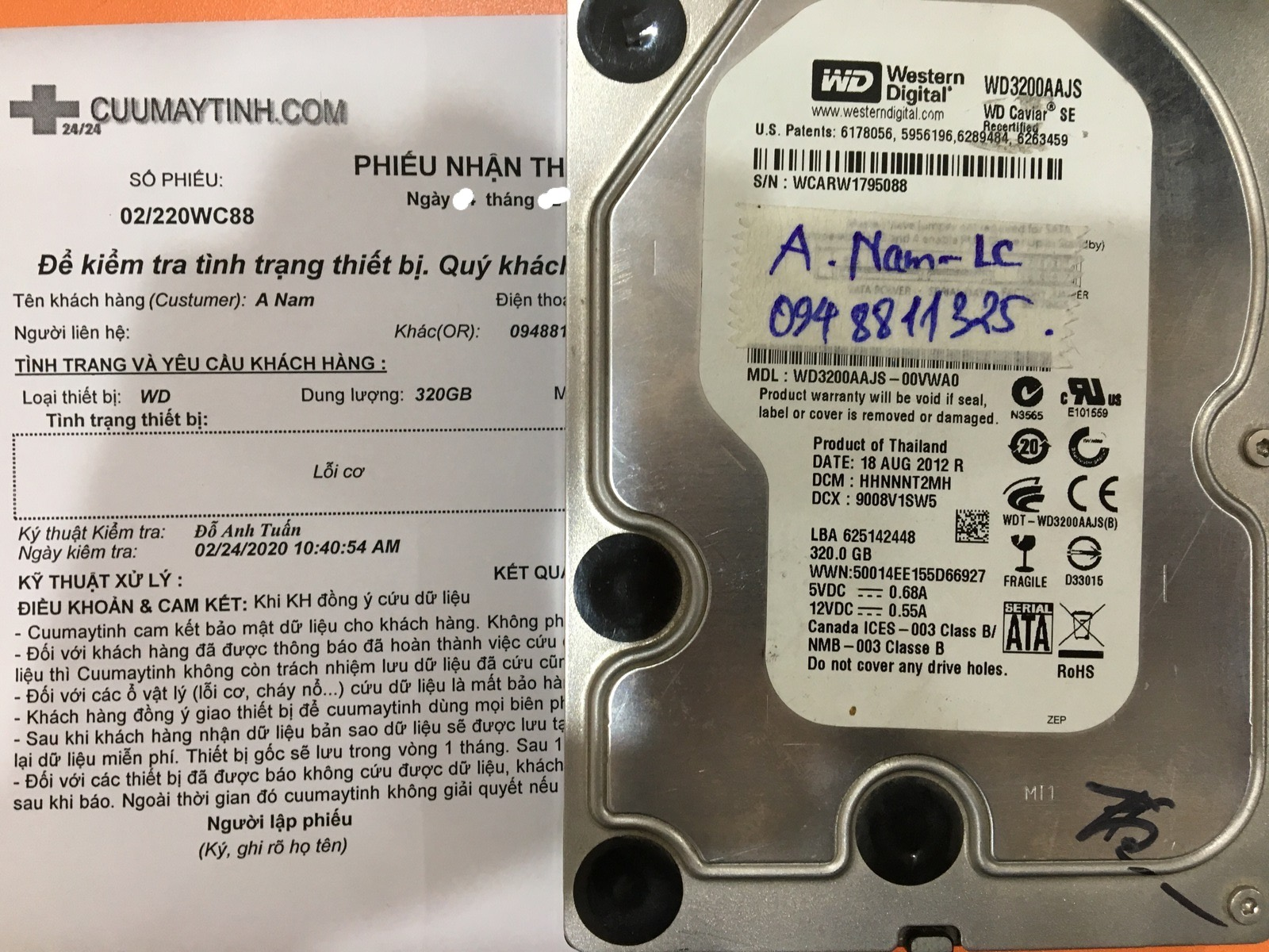Cứu dữ liệu ổ cứng Western 320GB lỗi cơ 12/03/2020 - cuumaytinh
