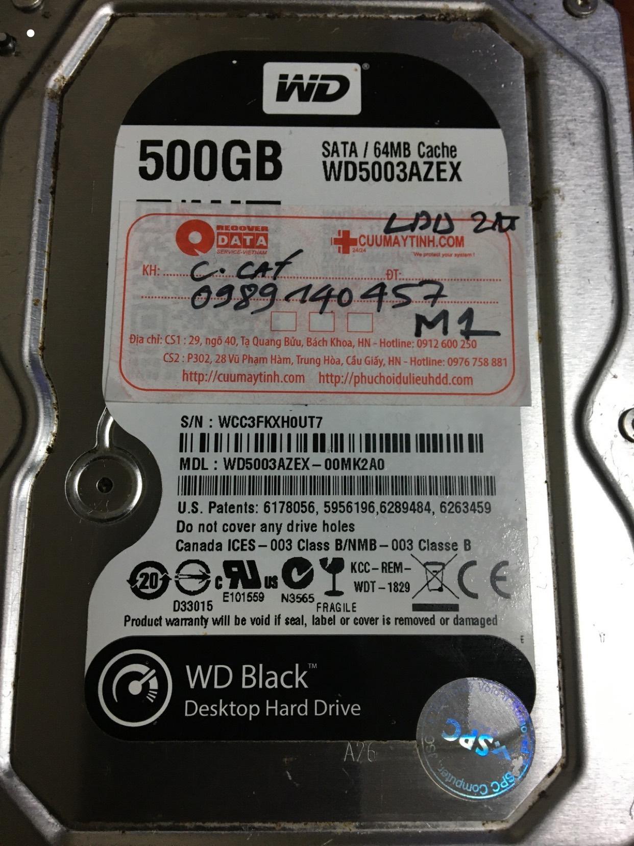 Cứu dữ liệu ổ cứng Western 500GB lỗi đầu đọc 02/03/2020 - cuumaytinh