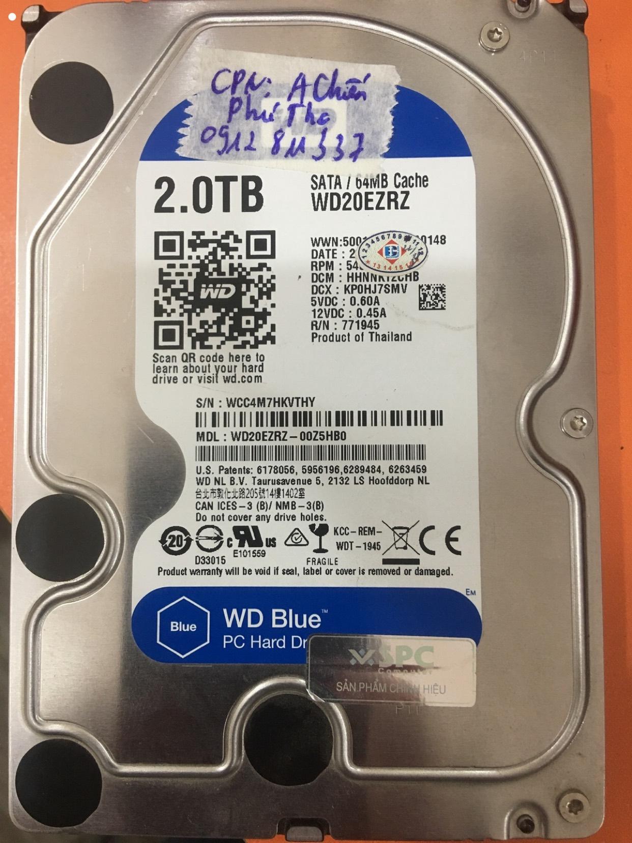 Khôi phục dữ liệu ổ cứng Western 2TB lỗi đầu đọc tại Phú Thọ 24/04/2020 - cuumaytinh