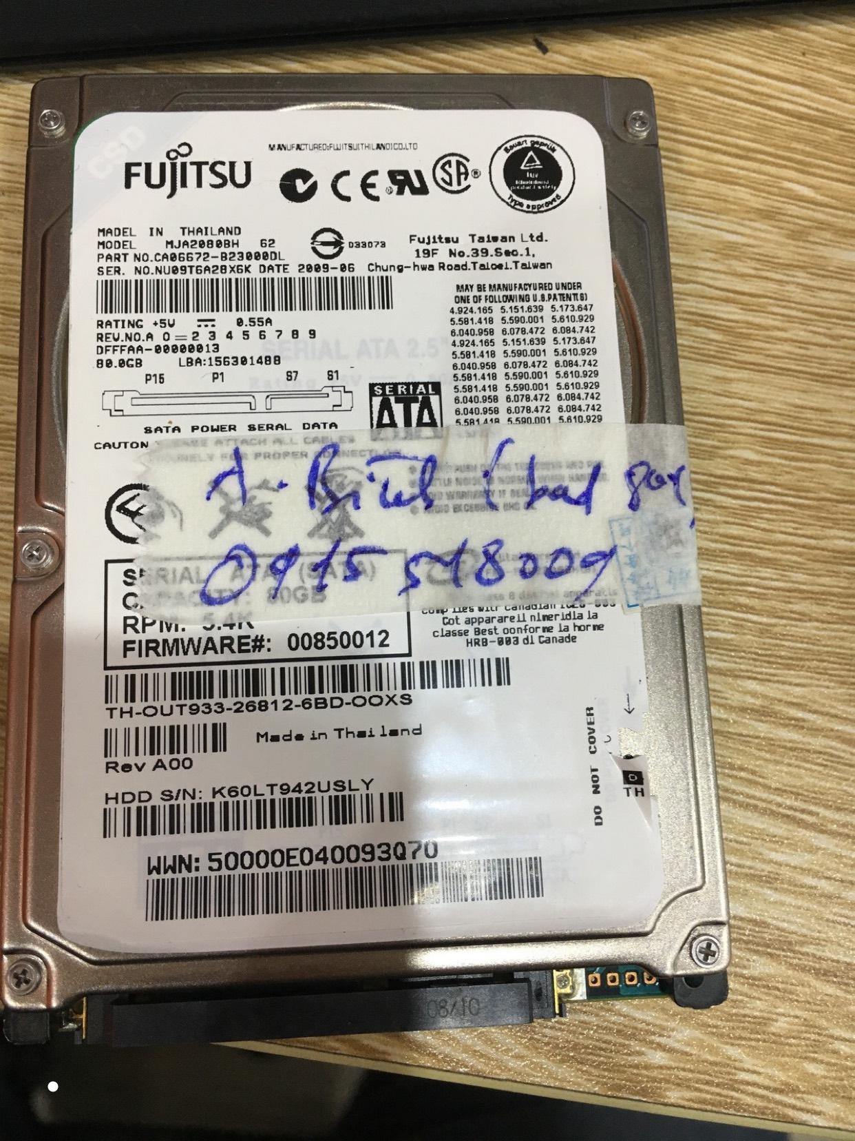 Lấy dữ liệu ổ cứng Fujitsu 80GB bad 24/04/2020 - cuumaytinh