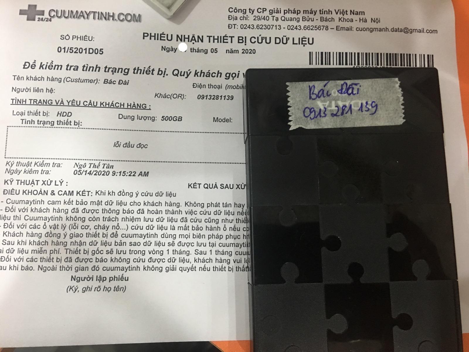 Cứu dữ liệu ổ cứng HDD 500GB lỗi đầu đọc 19/05/2020 - cuumaytinh