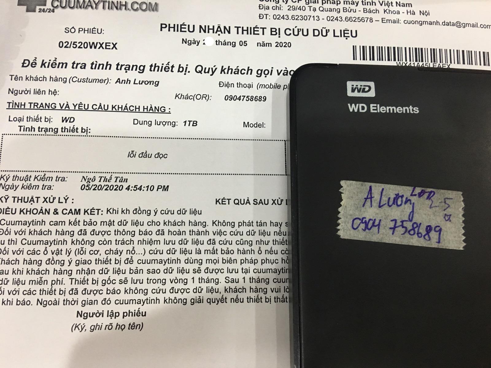 Cứu dữ liệu ổ cứng Western 1TB lỗi đầu đọc 23/05/2020 - cuumaytinh