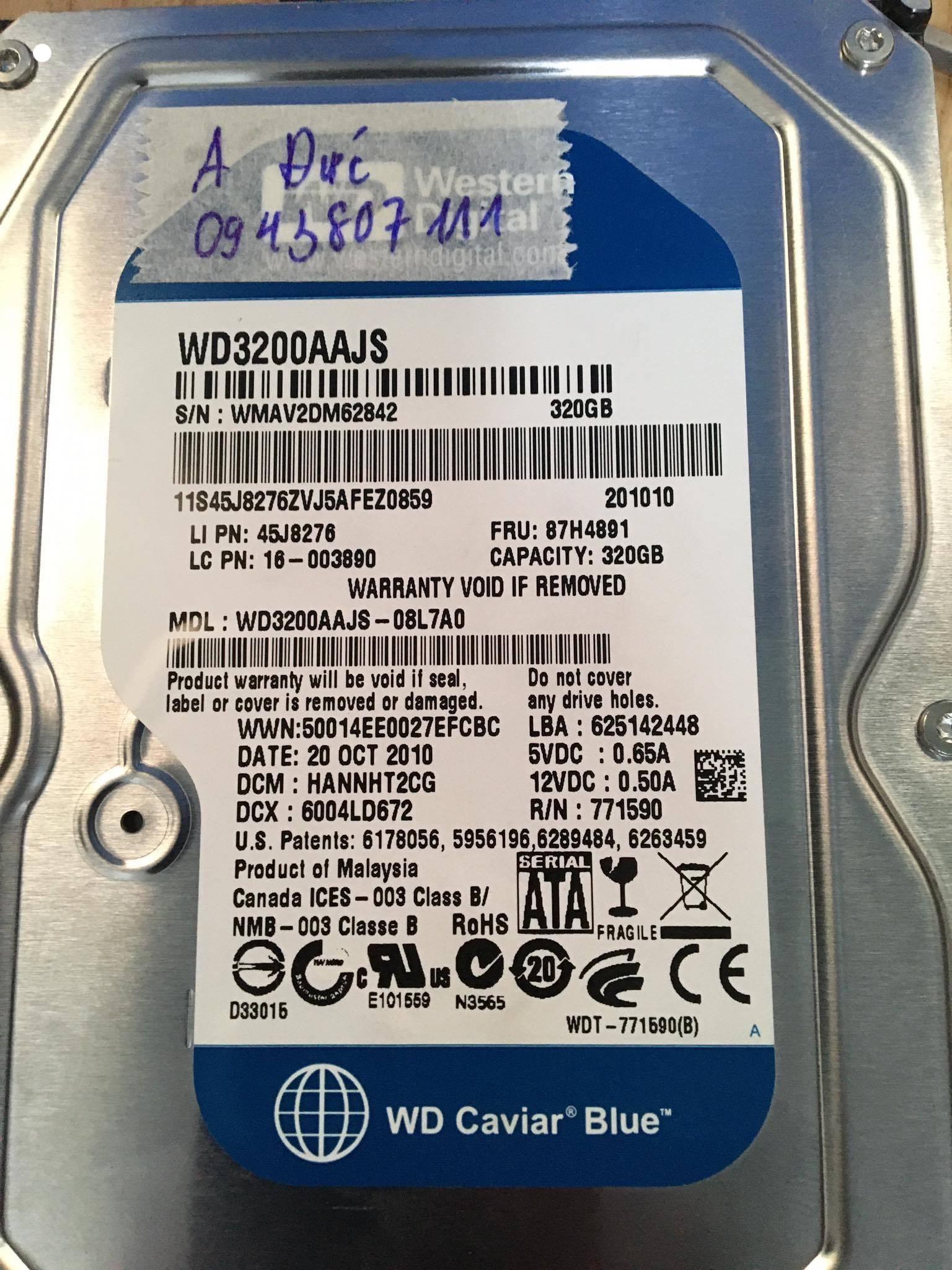 Cứu dữ liệu ổ cứng Western 320GB bó cơ 25/05/2020 - cuumaytinh