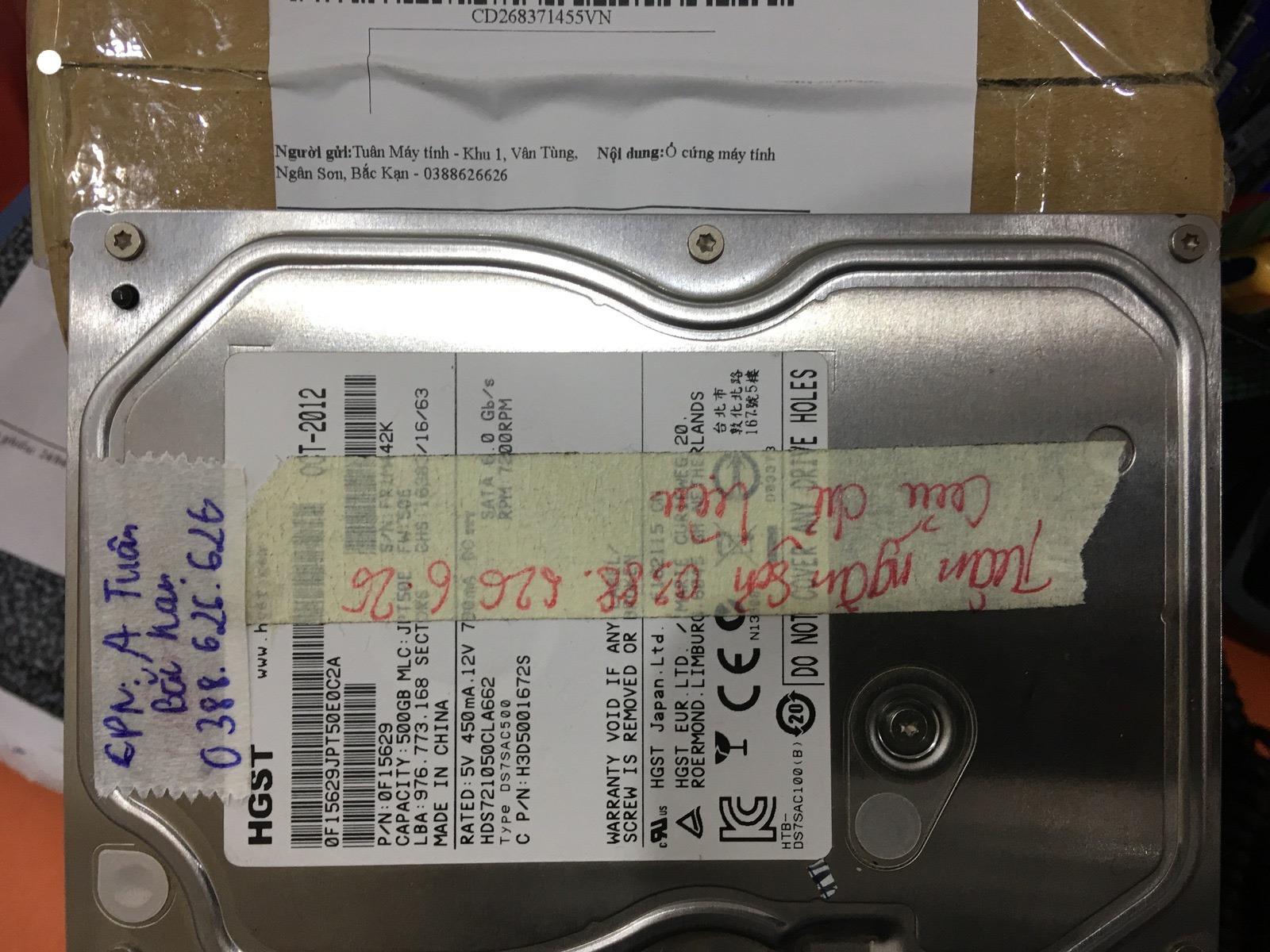 Khôi phục dữ liệu ổ cứng HGST 500GB bad tại Bắc Kạn 15/05/2020 - cuumaytinh